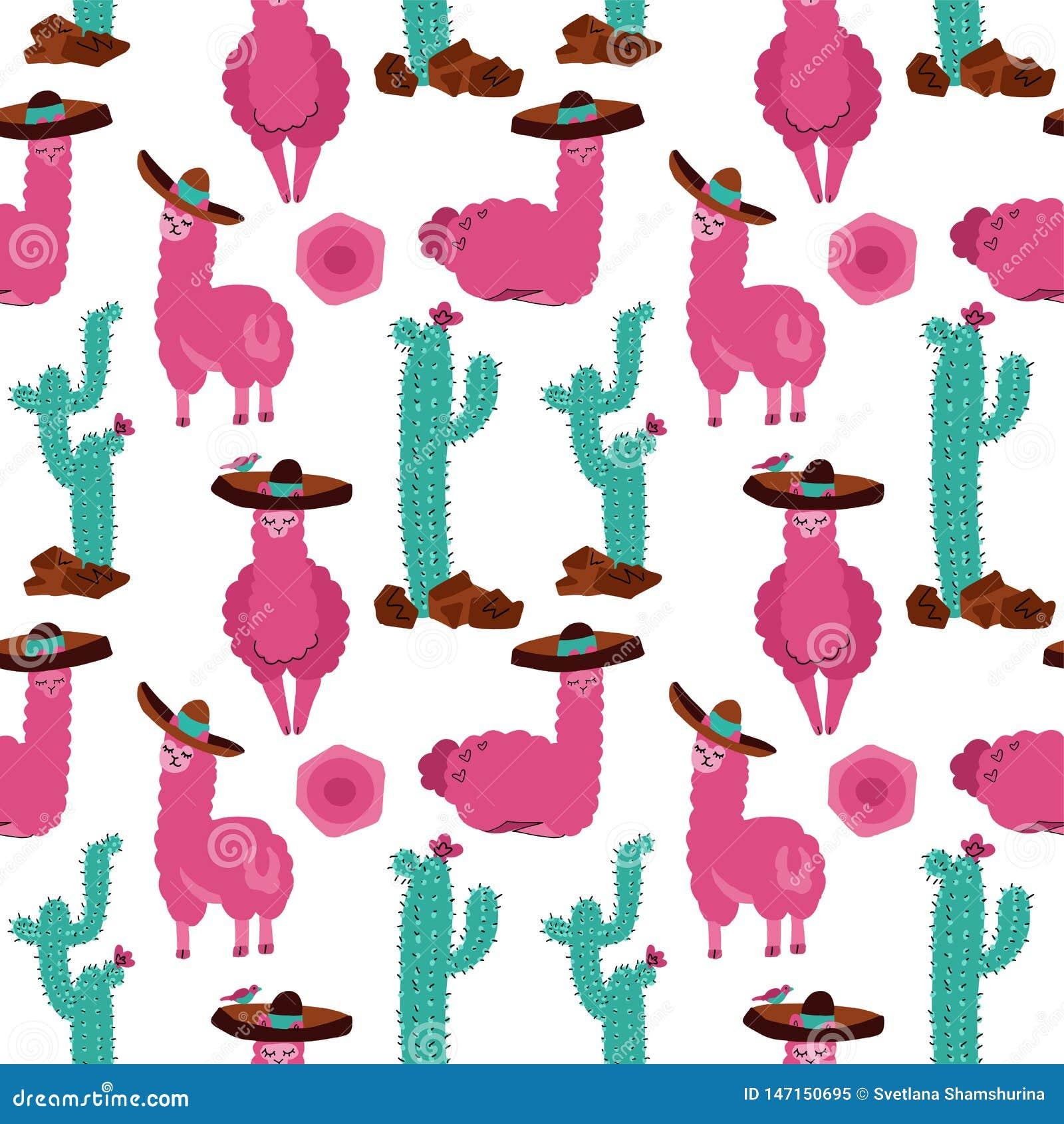 Modèle sans couture avec le lama dans le sombrero, le cactus et les éléments tirés par la main Texture pu?rile cr?ative Grand pou