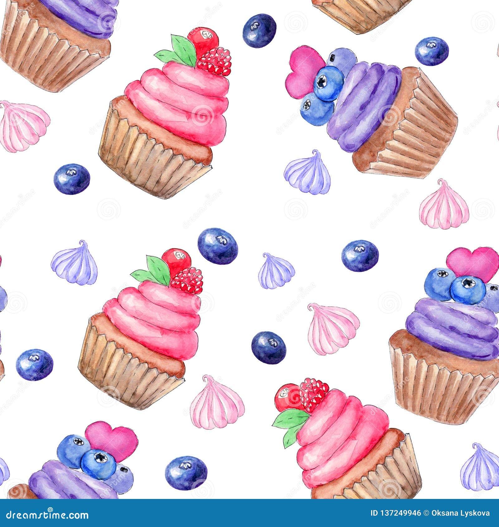 Modèle sans couture avec le petit gâteau d aquarelle peinte à la main et le marhmallow doux, baies Copie, design d emballage, s e