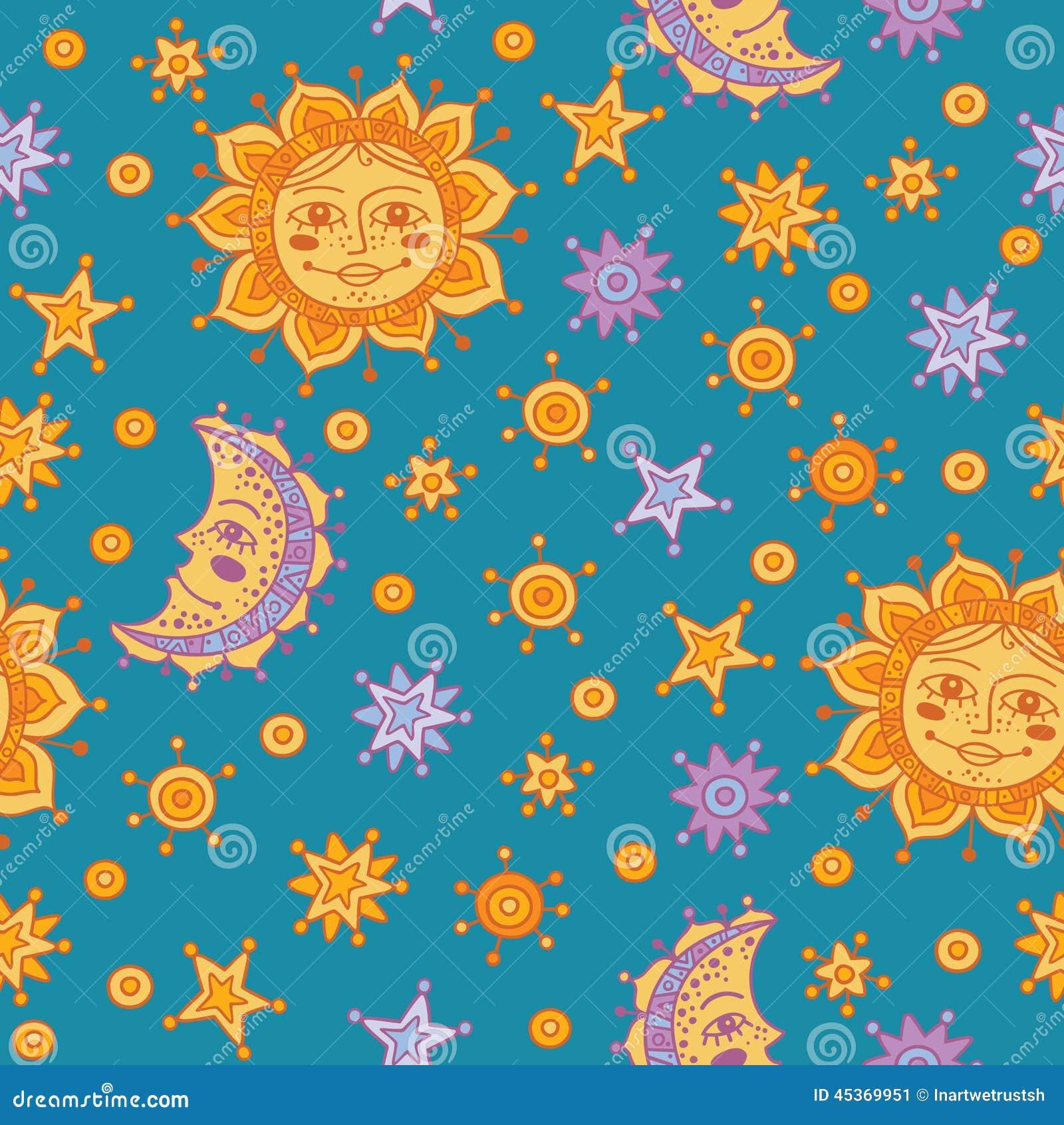 Modèle sans couture avec le soleil, la lune et les étoiles
