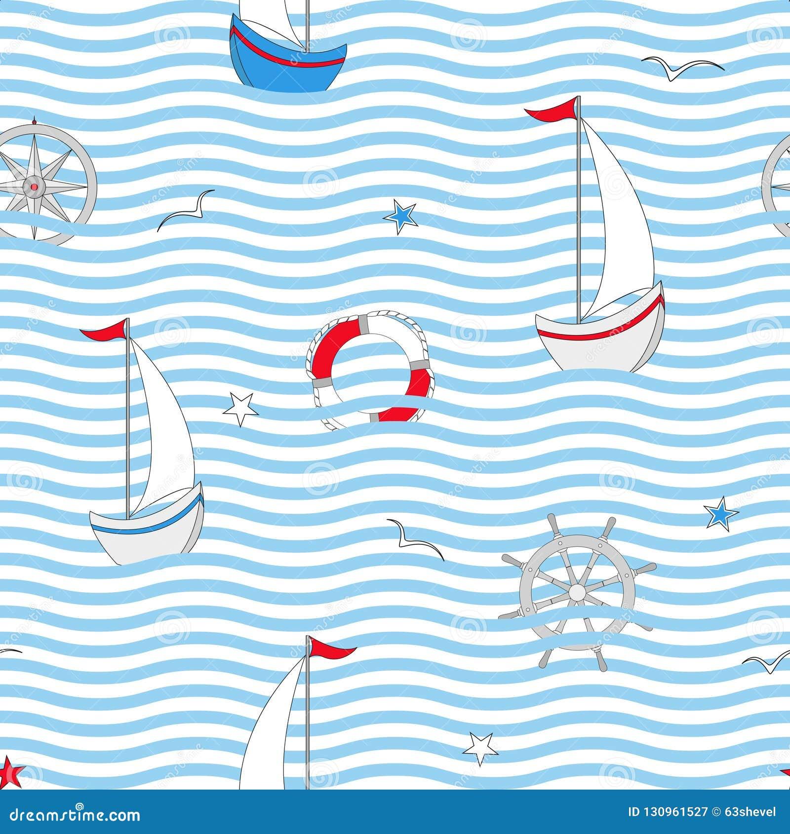 Modèle sans couture avec les éléments nautiques de conception Objets mignons de mer Illustration de vecteur