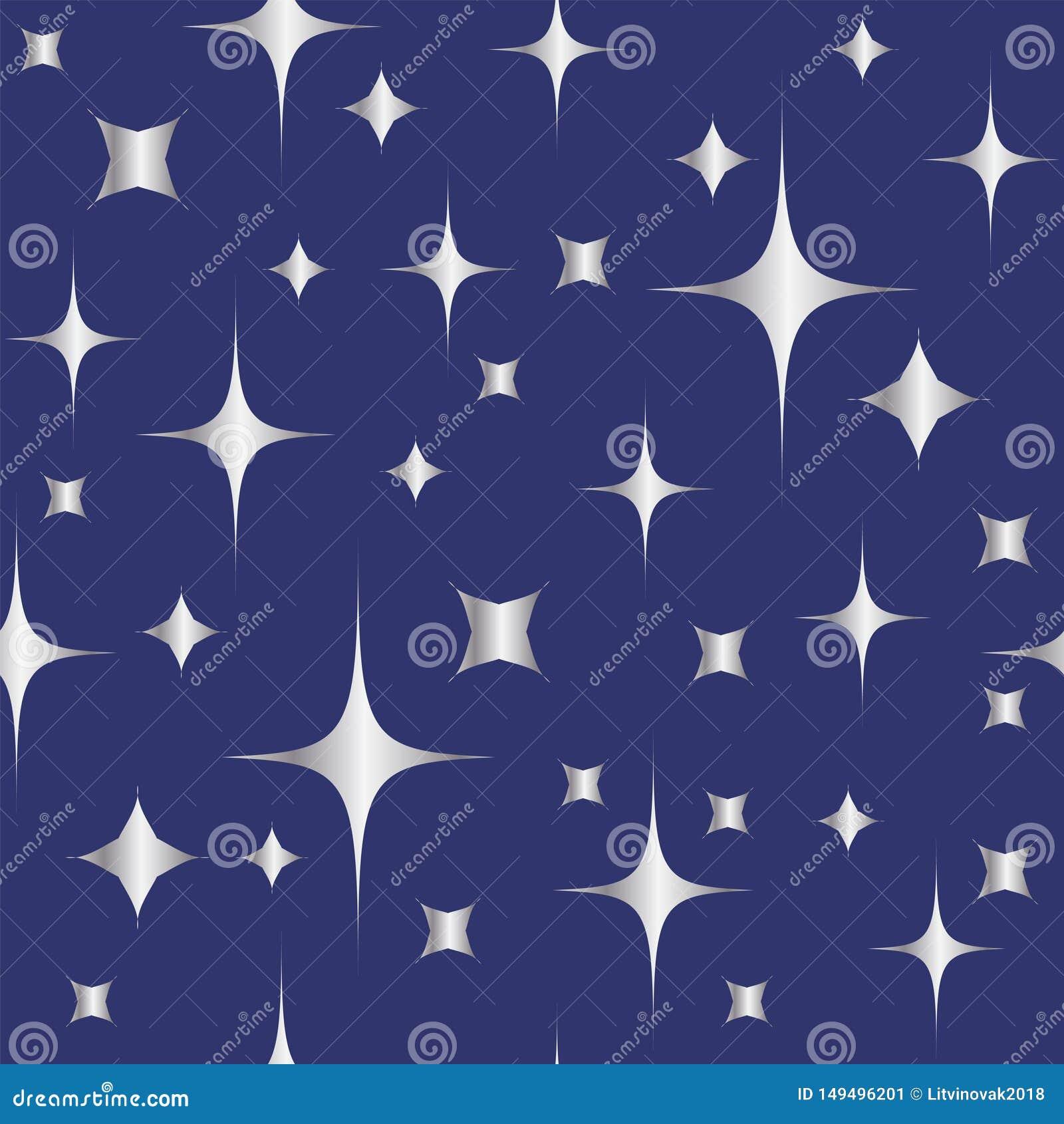 Modèle sans couture avec les étoiles argentées brillantes sur le fond bleu Fond de No?l ou d an neuf