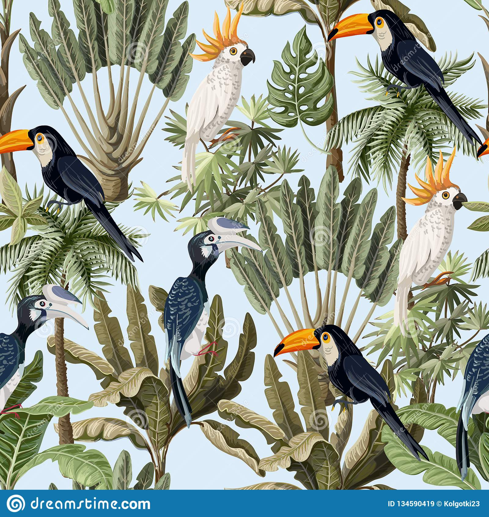 Papier Peint Avec Perroquet modèle sans couture avec les arbres exotiques et l'oiseau