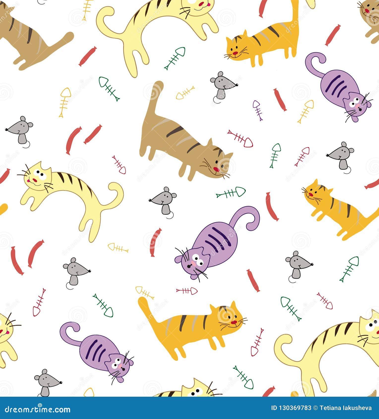 Modèle sans couture avec les chats colorés mignons drôles