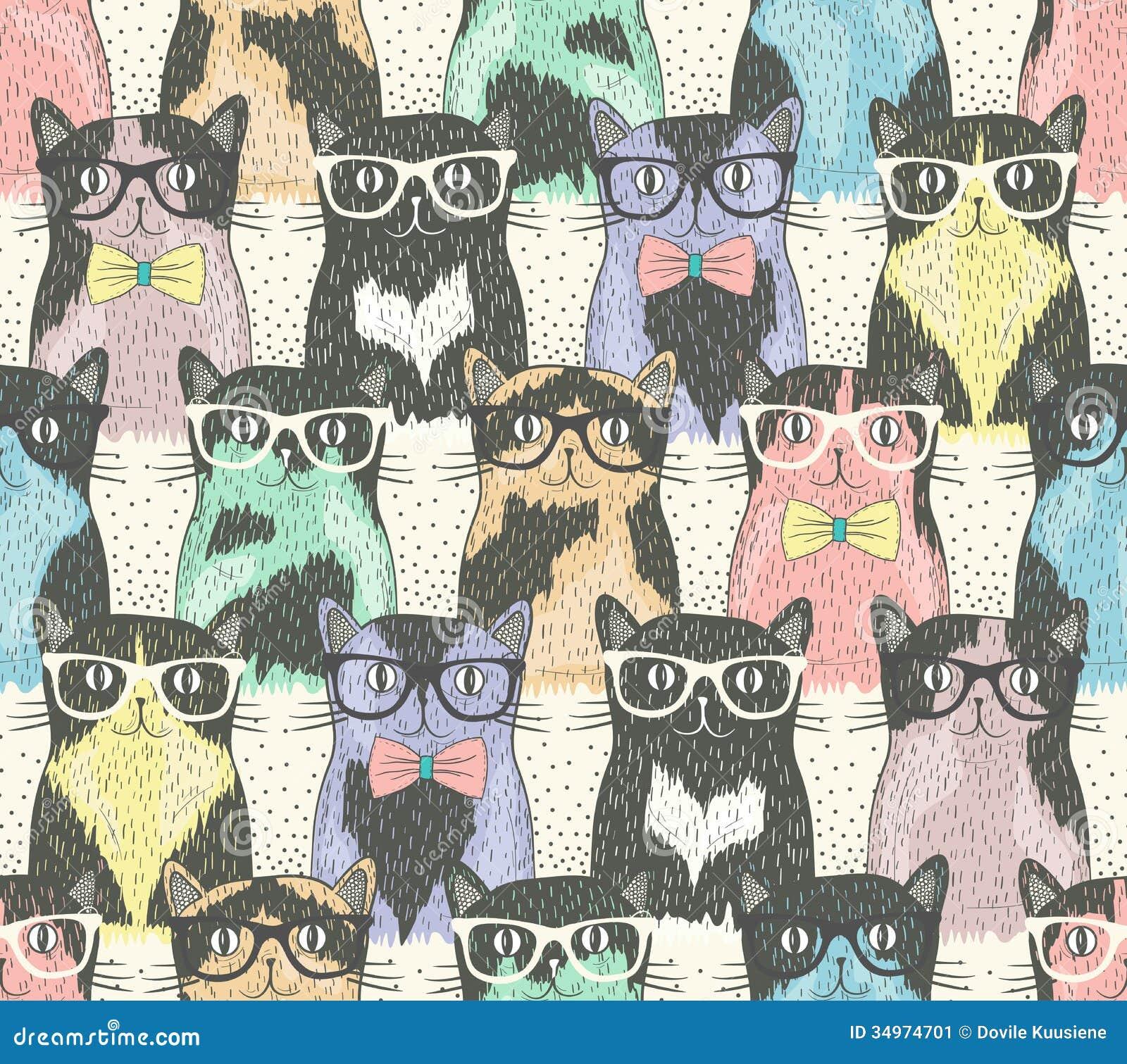 Modèle sans couture avec les chats mignons de hippie
