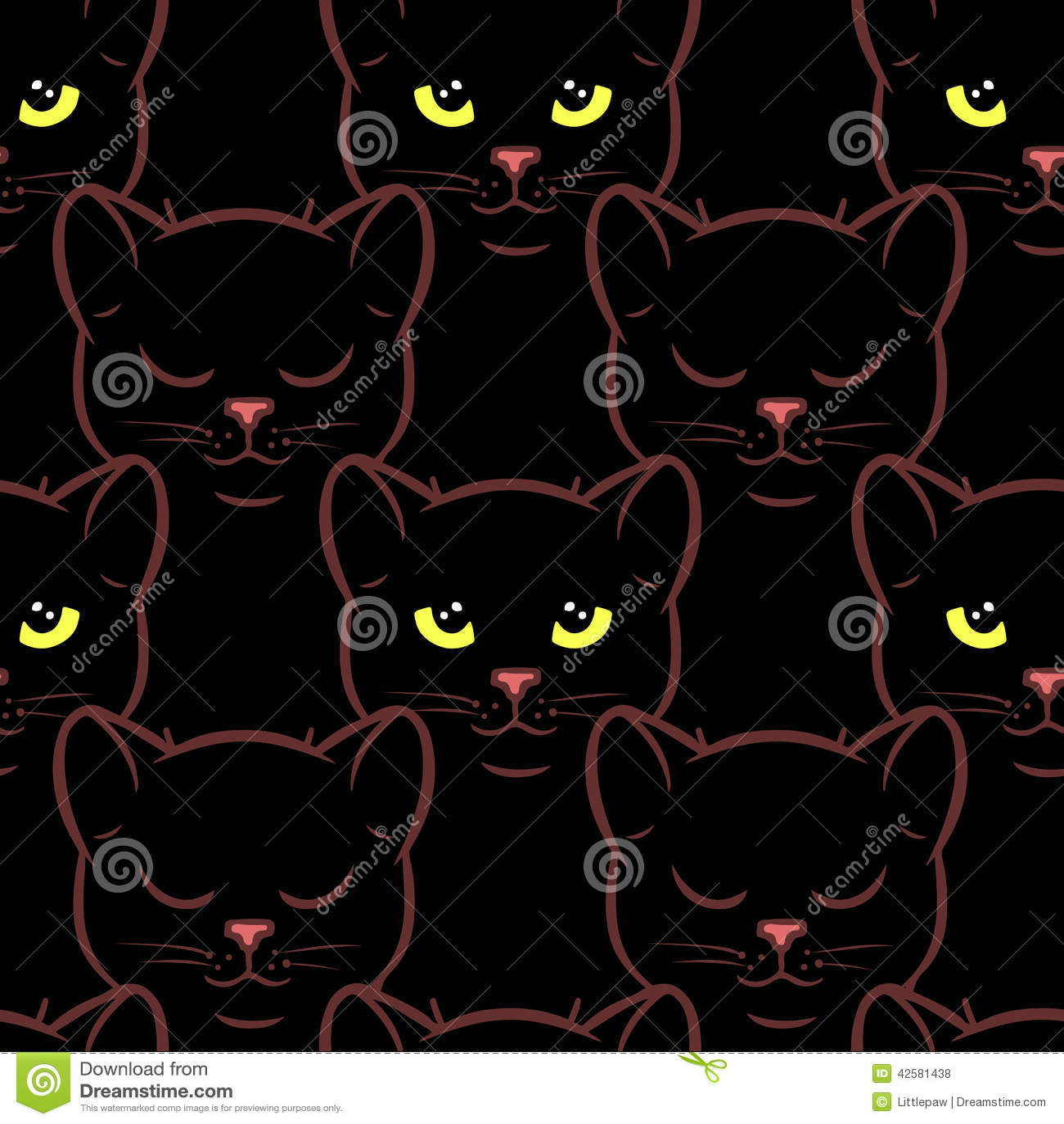 Download Modèle Sans Couture Avec Les Chats Noirs Mignons Illustration de  Vecteur , Illustration du wallpapers