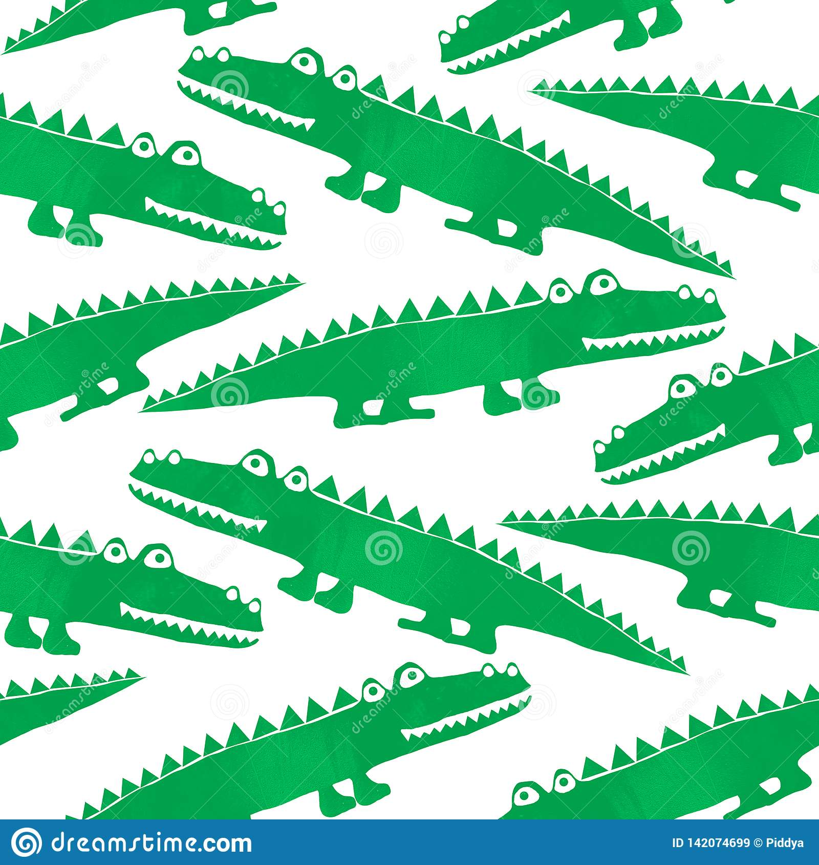 Modèle sans couture avec les crocodiles mignons
