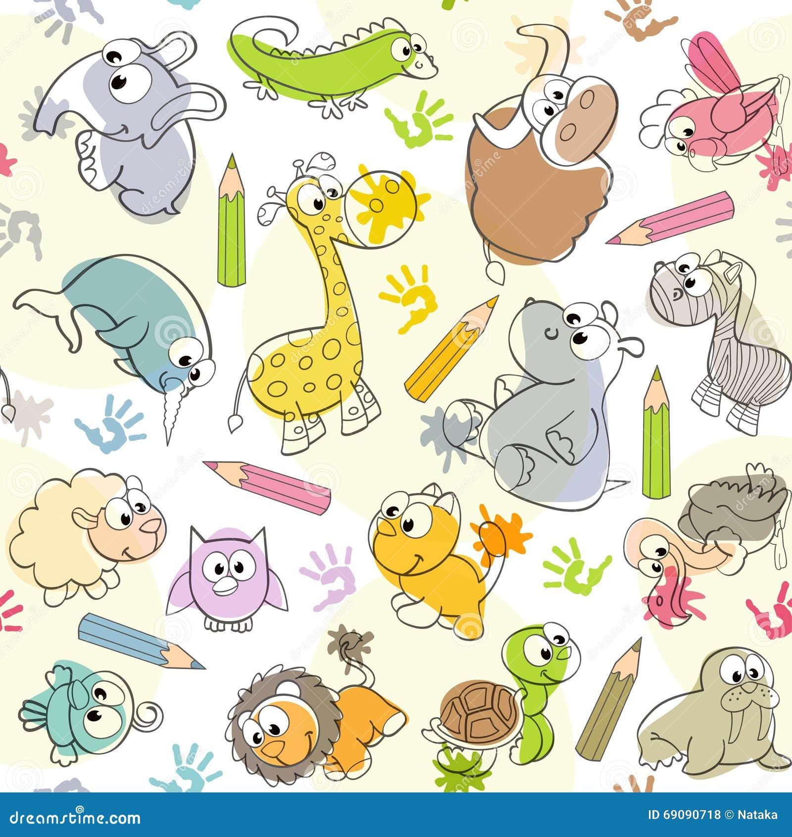 Mod le sans couture avec les dessins des enfants des - Modele de dessin d animaux ...