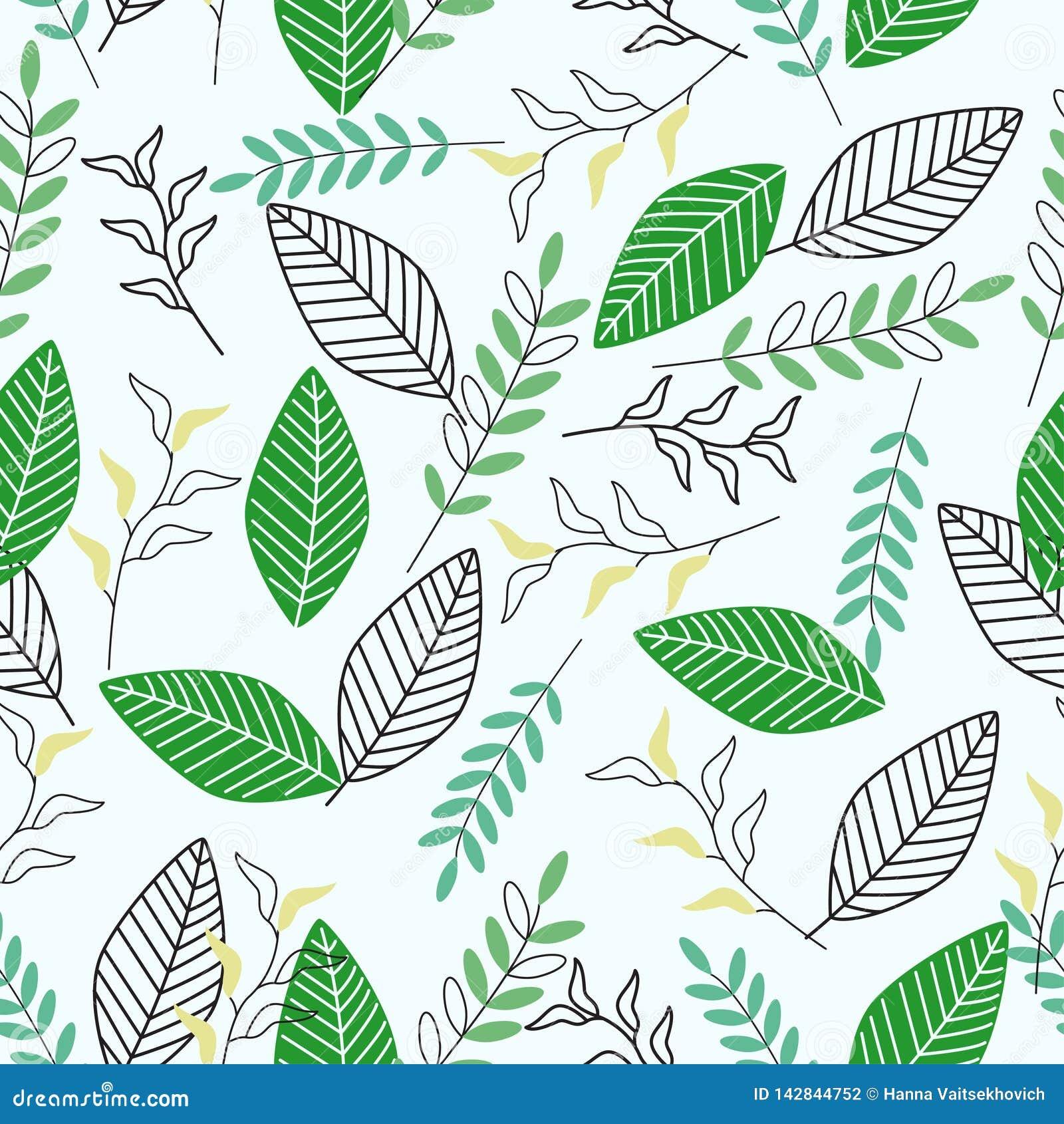 Modèle sans couture avec les feuilles vertes - illustration de vecteur, ENV