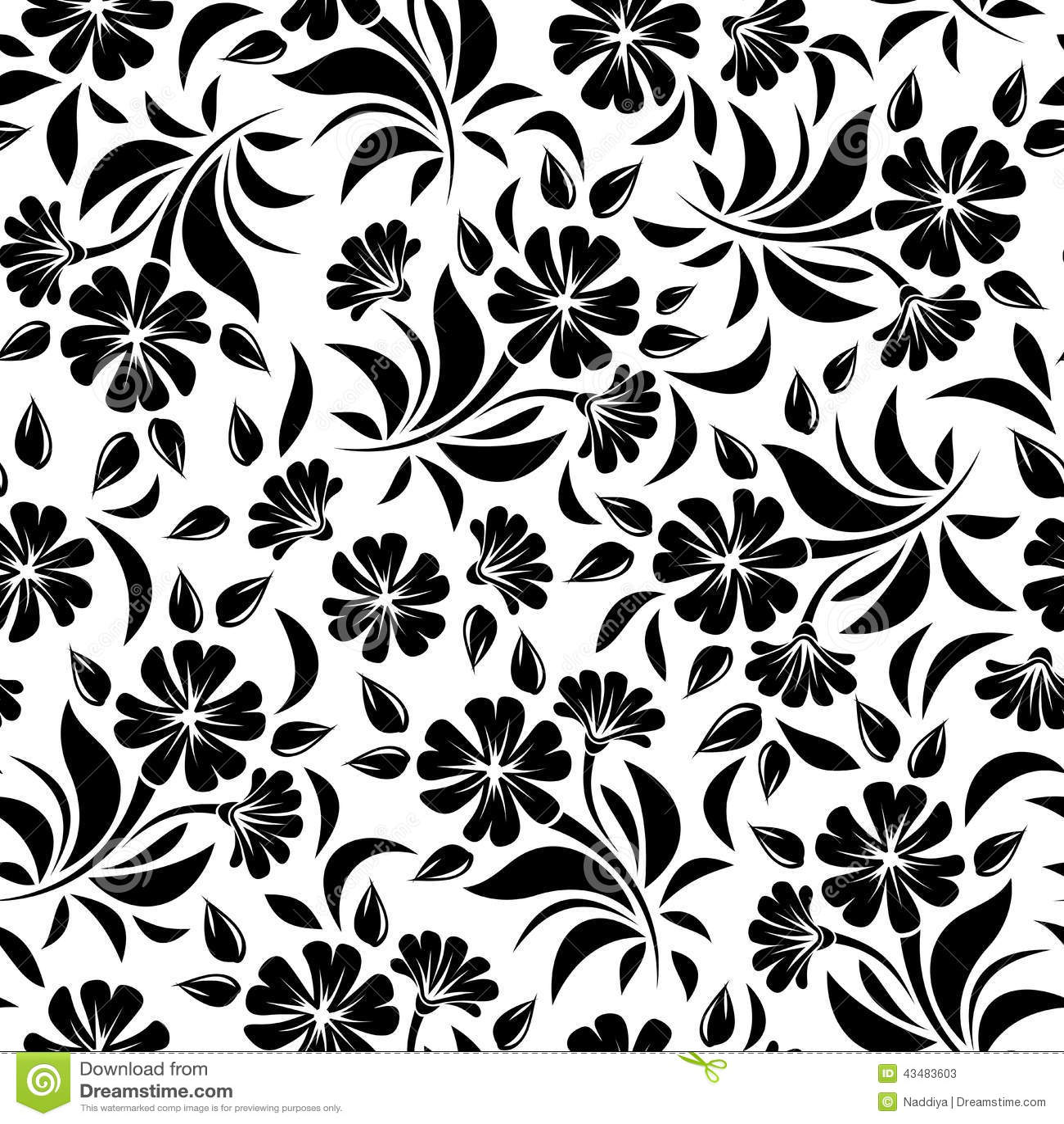 Modèle sans couture avec les fleurs noires sur un fond blanc Illustration de vecteur