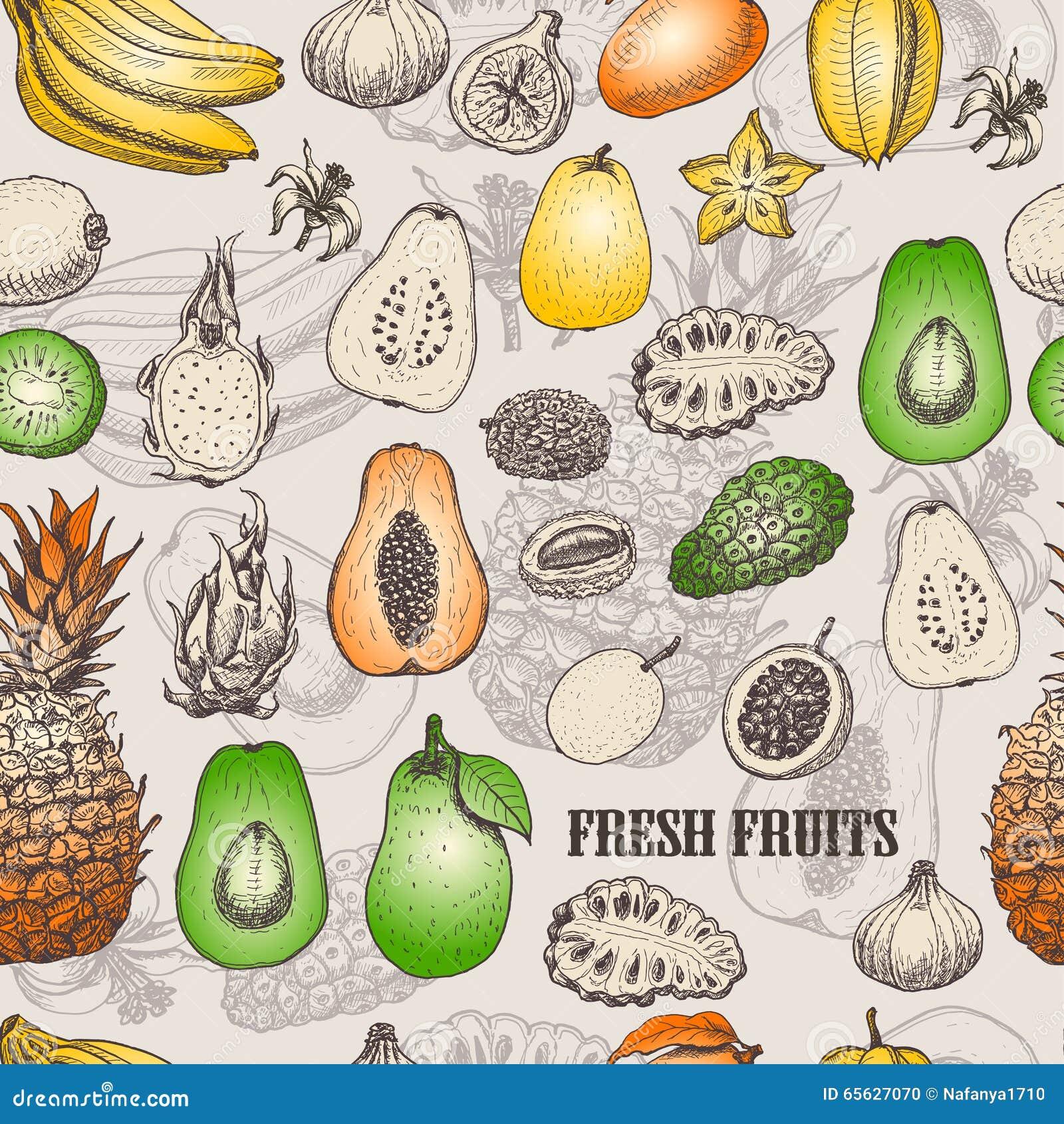 Modèle sans couture avec les fruits tropicaux