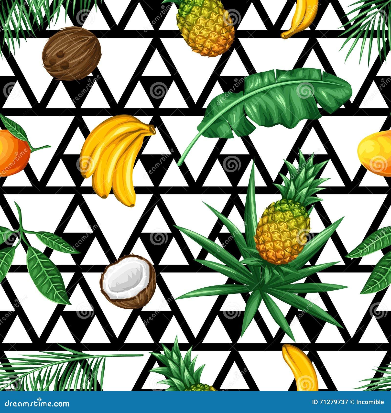 Modèle Sans Couture Avec Les Fruits Tropicaux Et Les