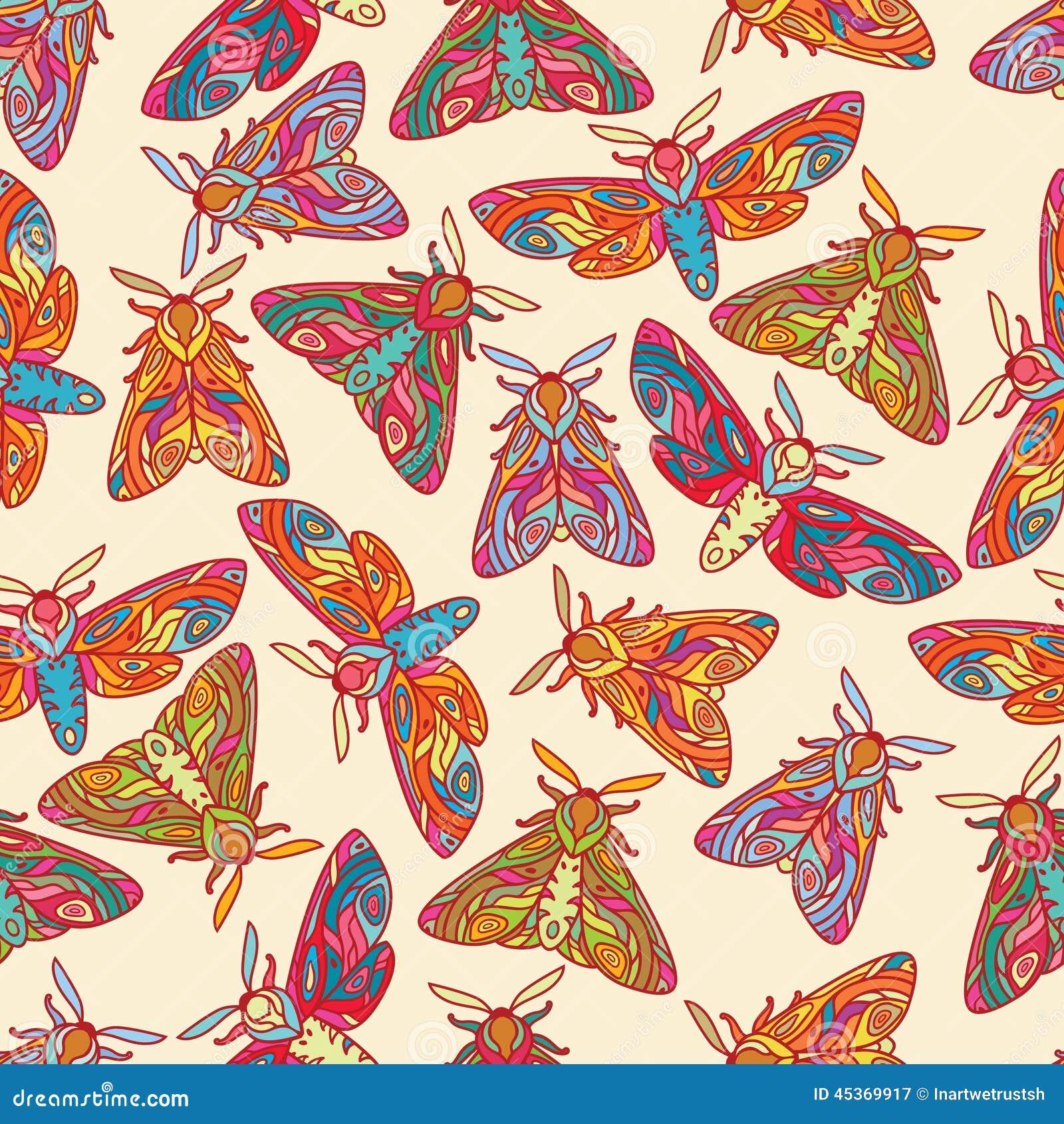 Modèle sans couture avec les papillons ou les mites colorés