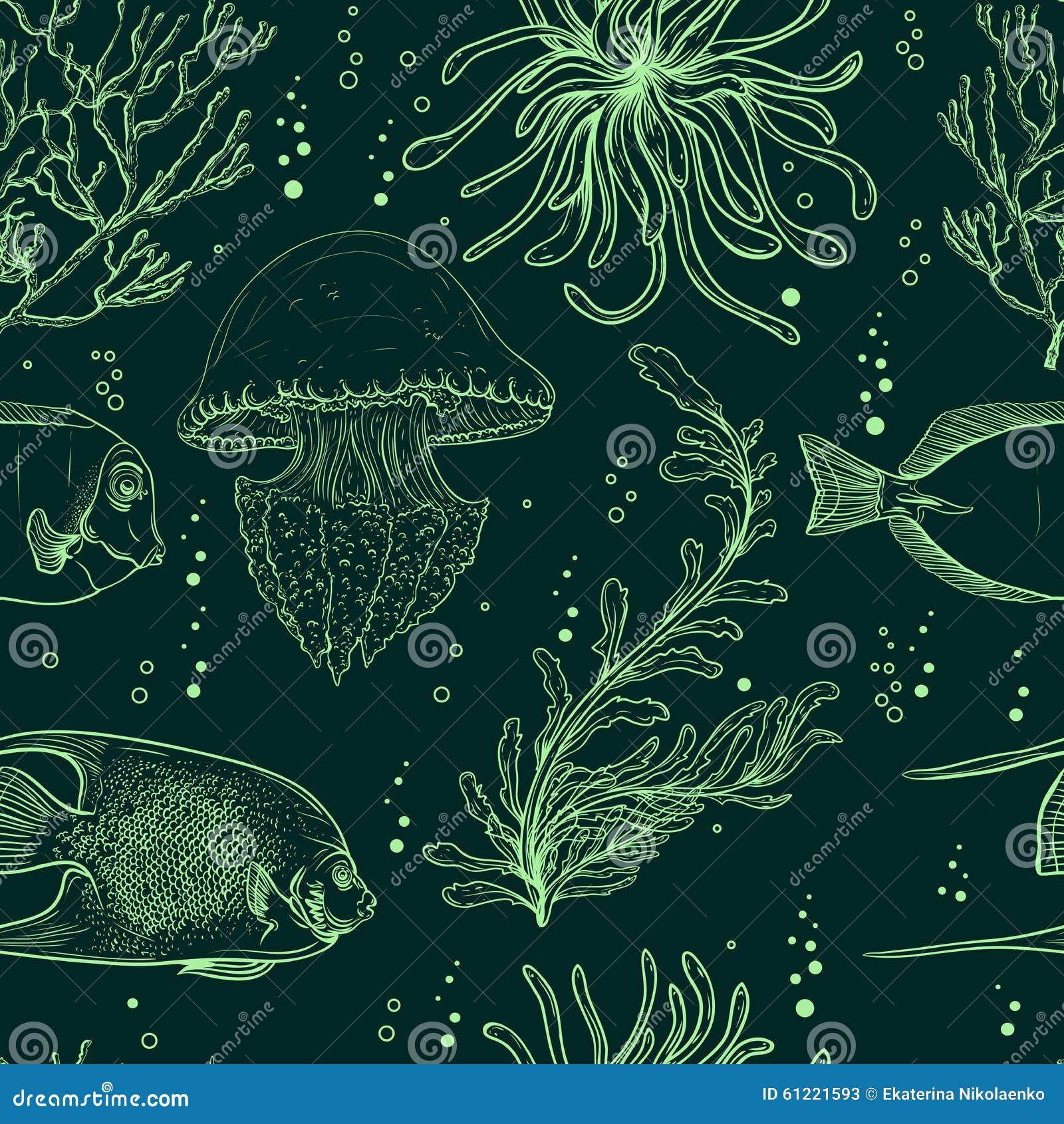 Modèle sans couture avec les poissons tropicaux, les méduses, les usines marines et l algue Espèce marine tirée par la main d ill