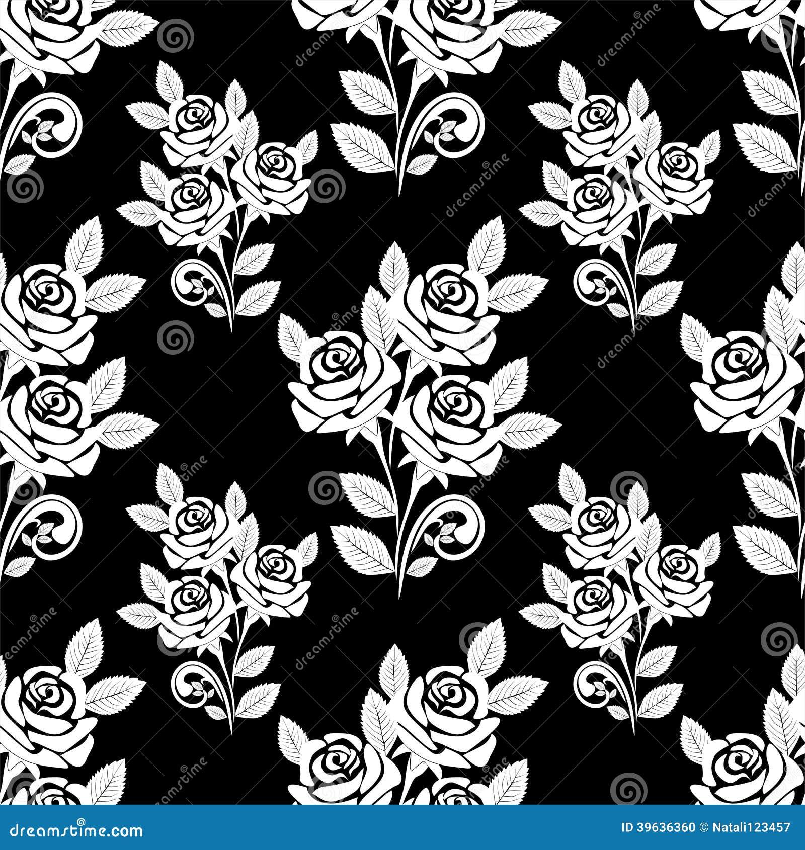 Modèle sans couture avec les roses blanches sur le fond noir.