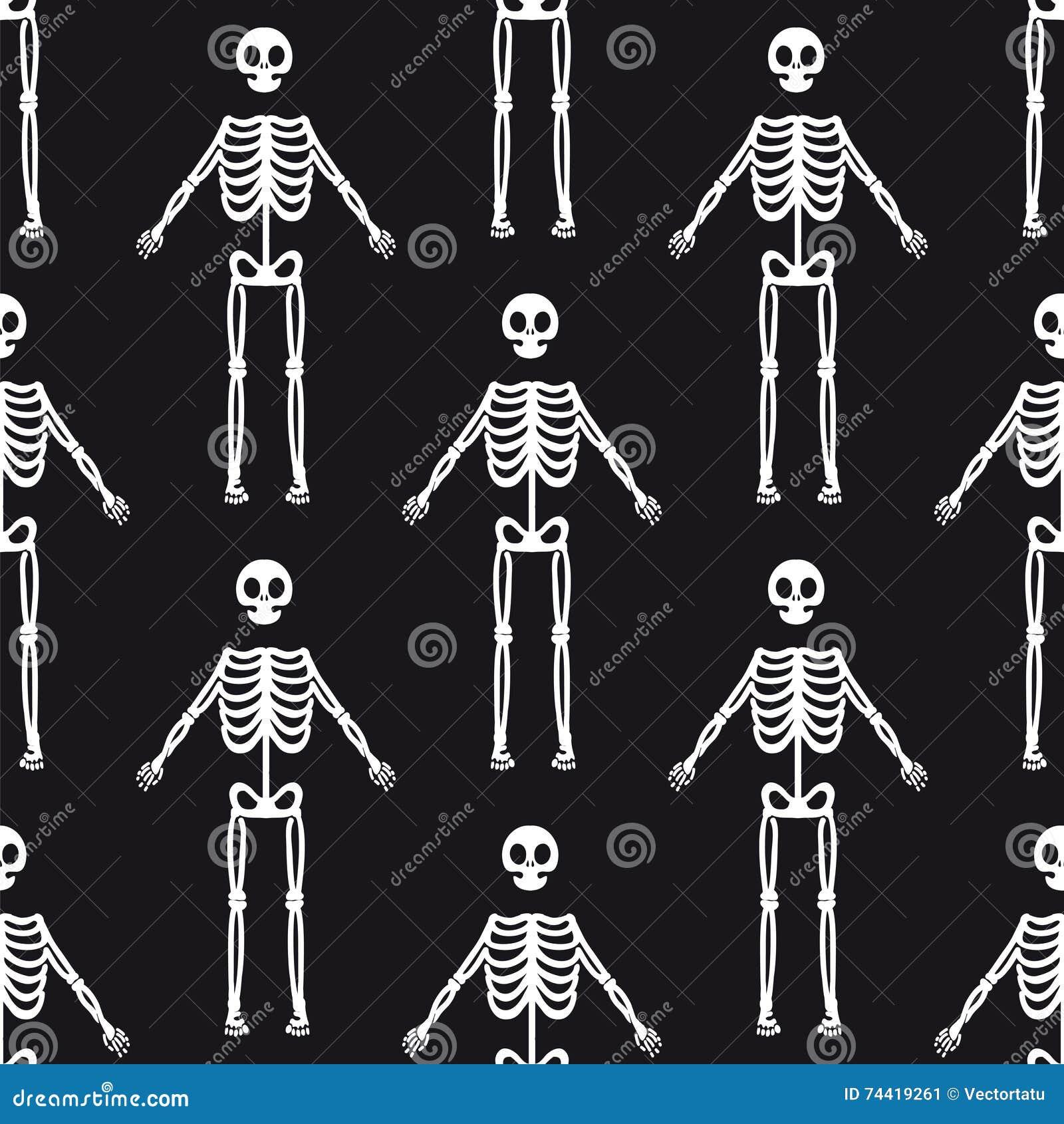 Modèle sans couture avec les squelettes blancs