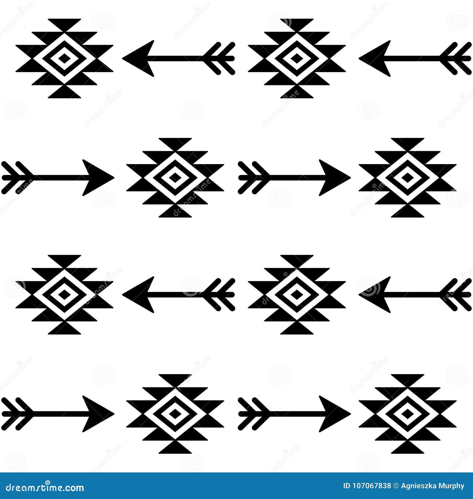 Modèle sans couture aztèque de vecteur avec des flèches, conception indienne de tissu de Navajo, art tribal