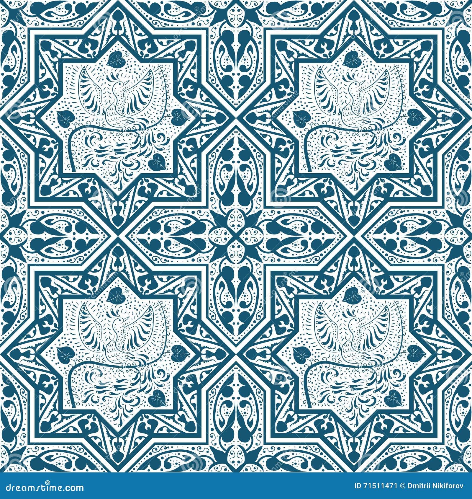 Modèle sans couture bleu arabe avec l oiseau Phoenix
