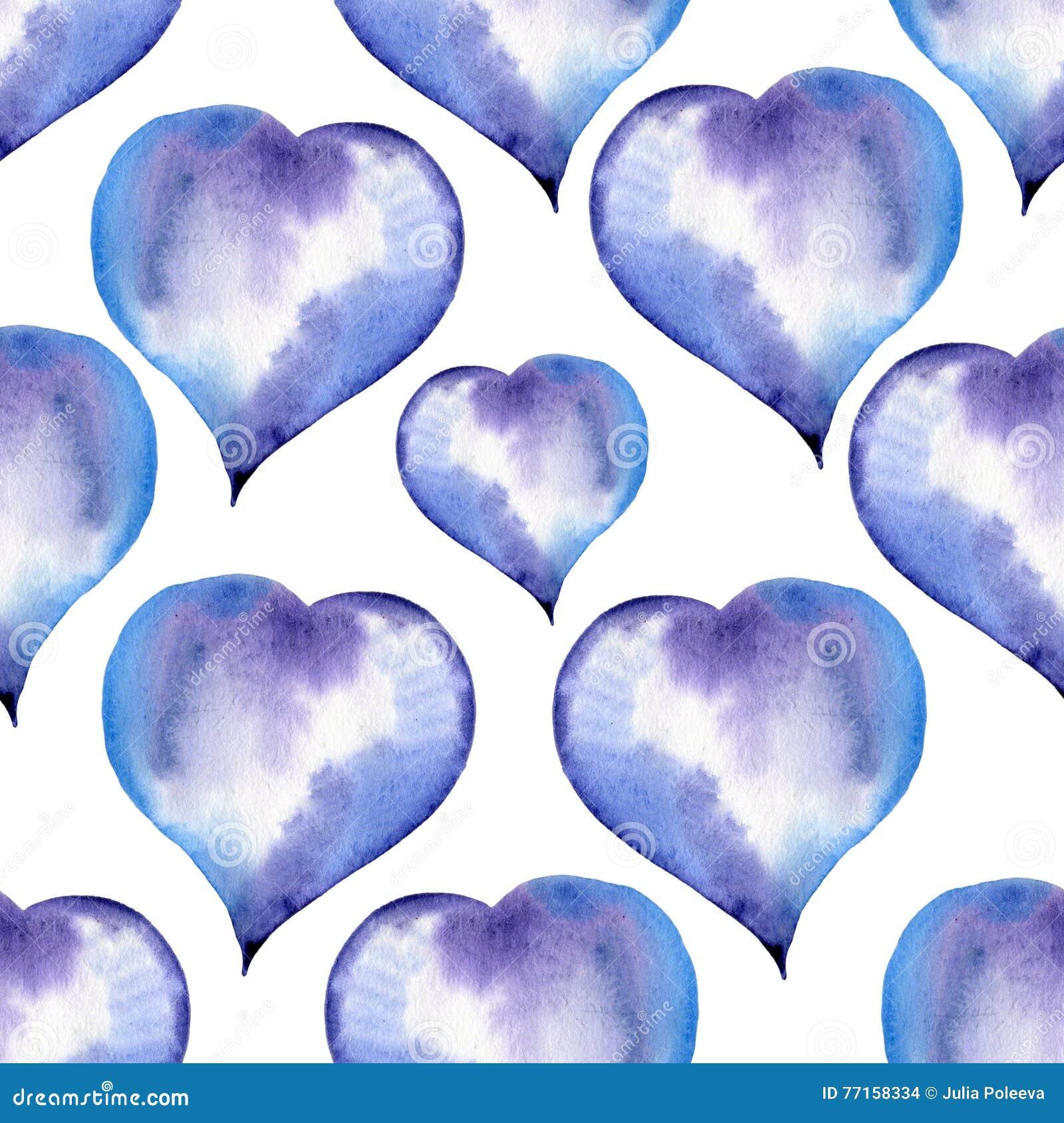 Modèle sans couture bleu des coeurs pour Valentine