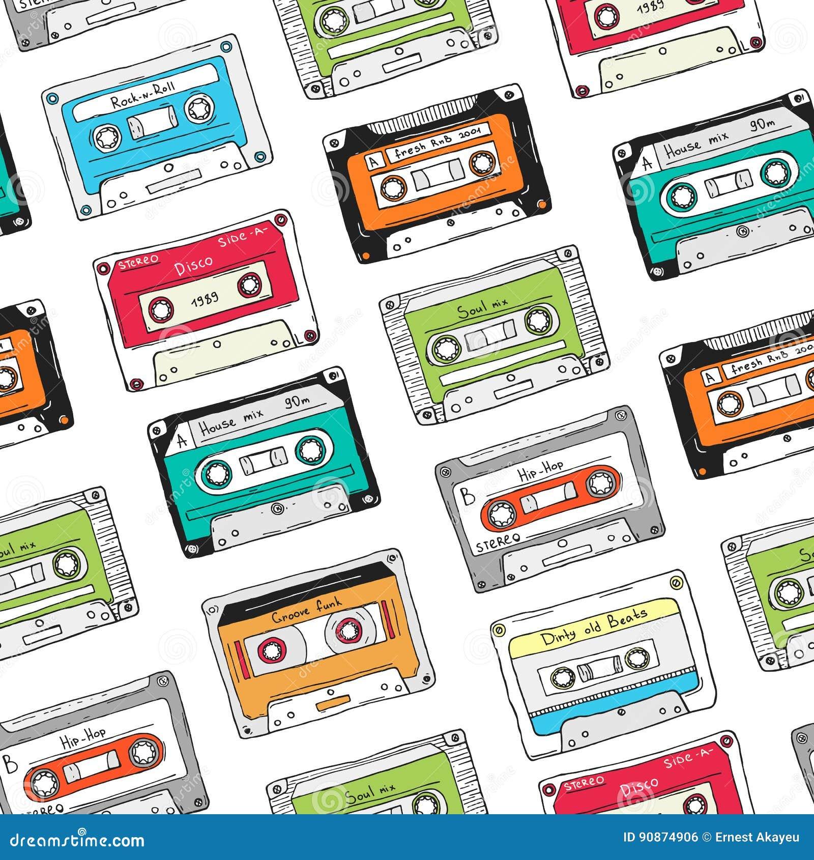 Modèle sans couture, cassette en plastique, bande audio avec la musique différente Fond coloré tiré par la main, rétro style