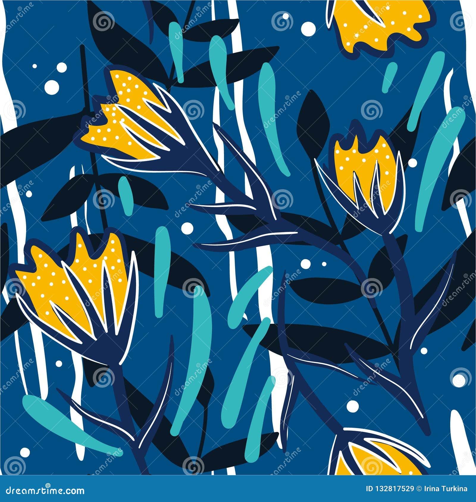 Modèle sans couture coloré avec des fleurs, feuilles