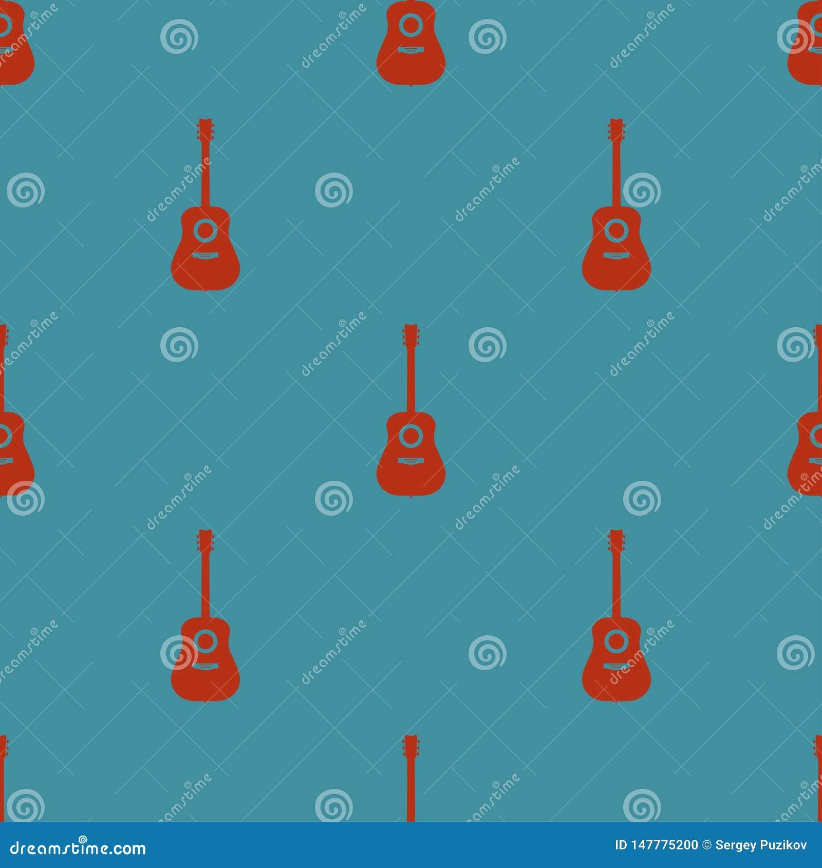 Modèle sans couture coloré avec des guitares sur une illustration bleue de vecteur de fond