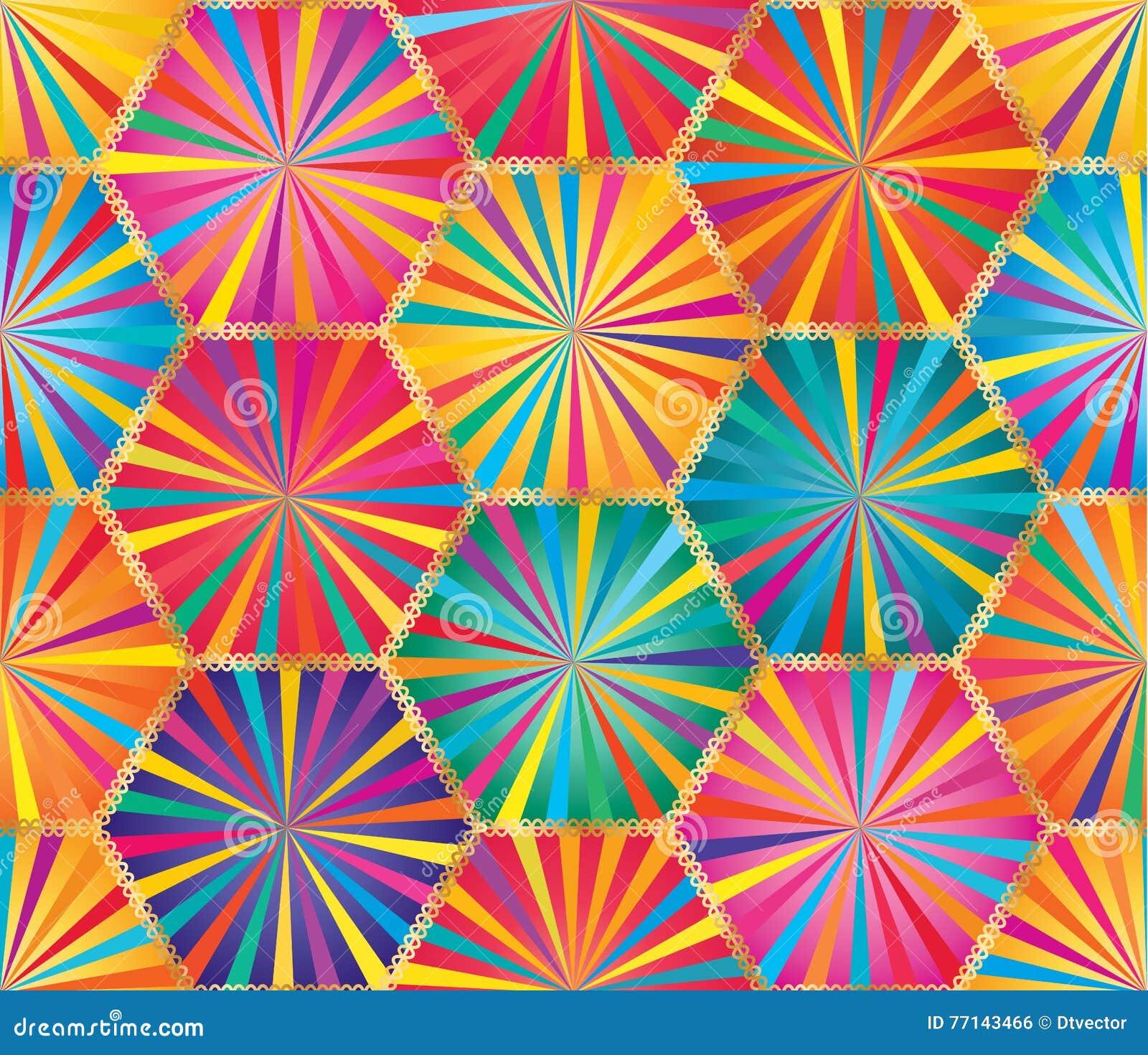Modèle sans couture coloré de grand rayon d hexagone