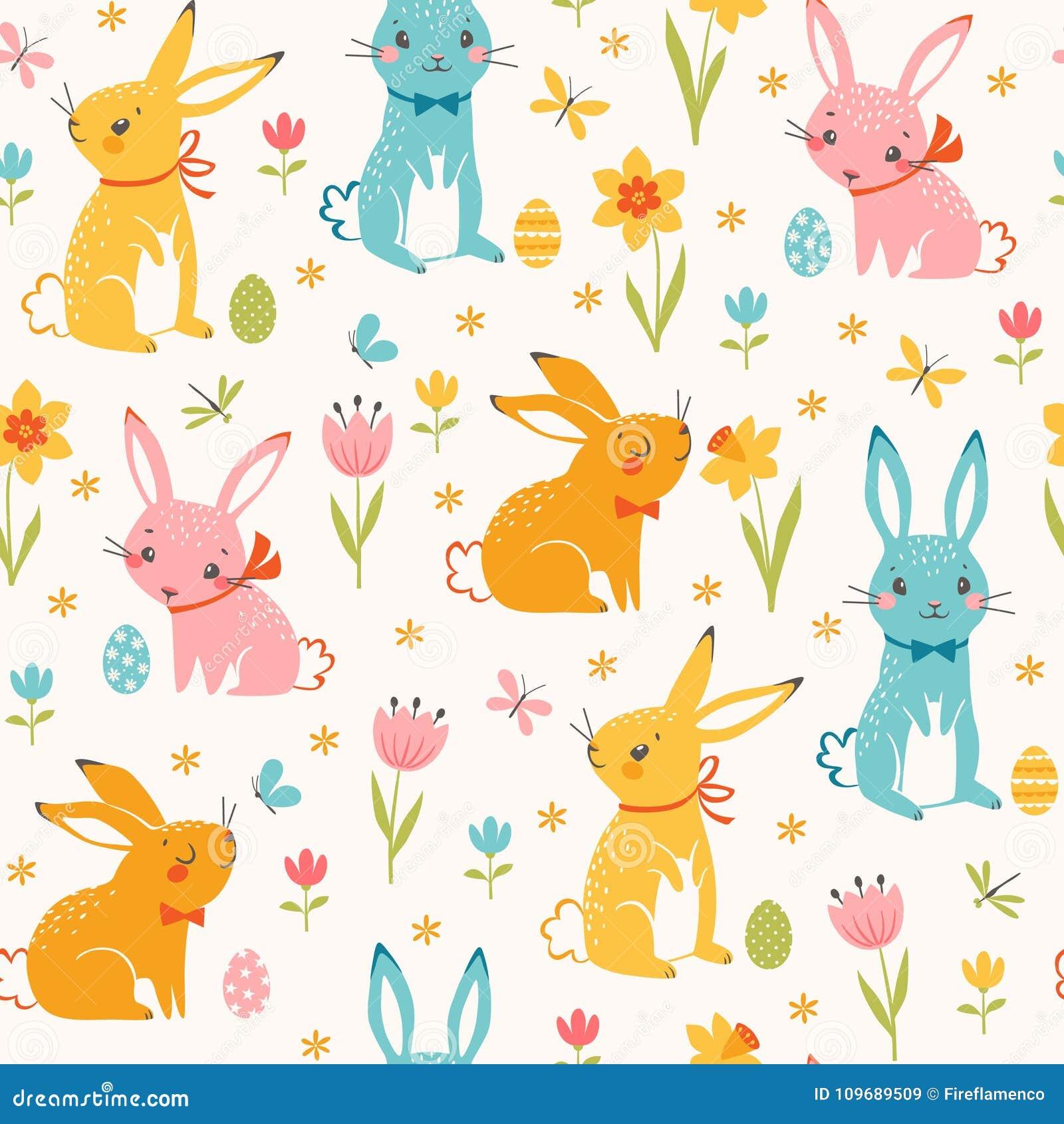 Modèle sans couture coloré de lapins de Pâques