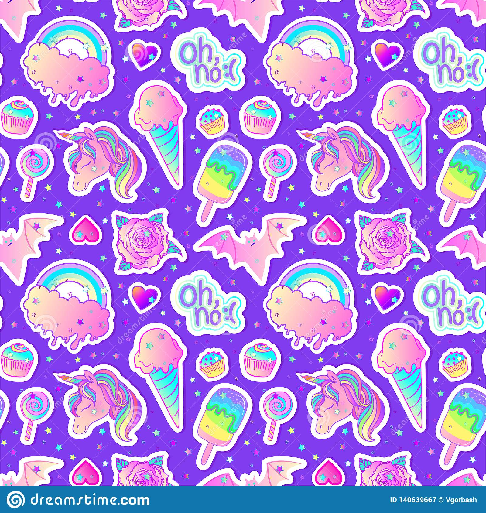 Modèle sans couture coloré : licorne, bonbons, arc-en-ciel, crème glacée, lucette, petit gâteau, rose, chauve-souris Illustration
