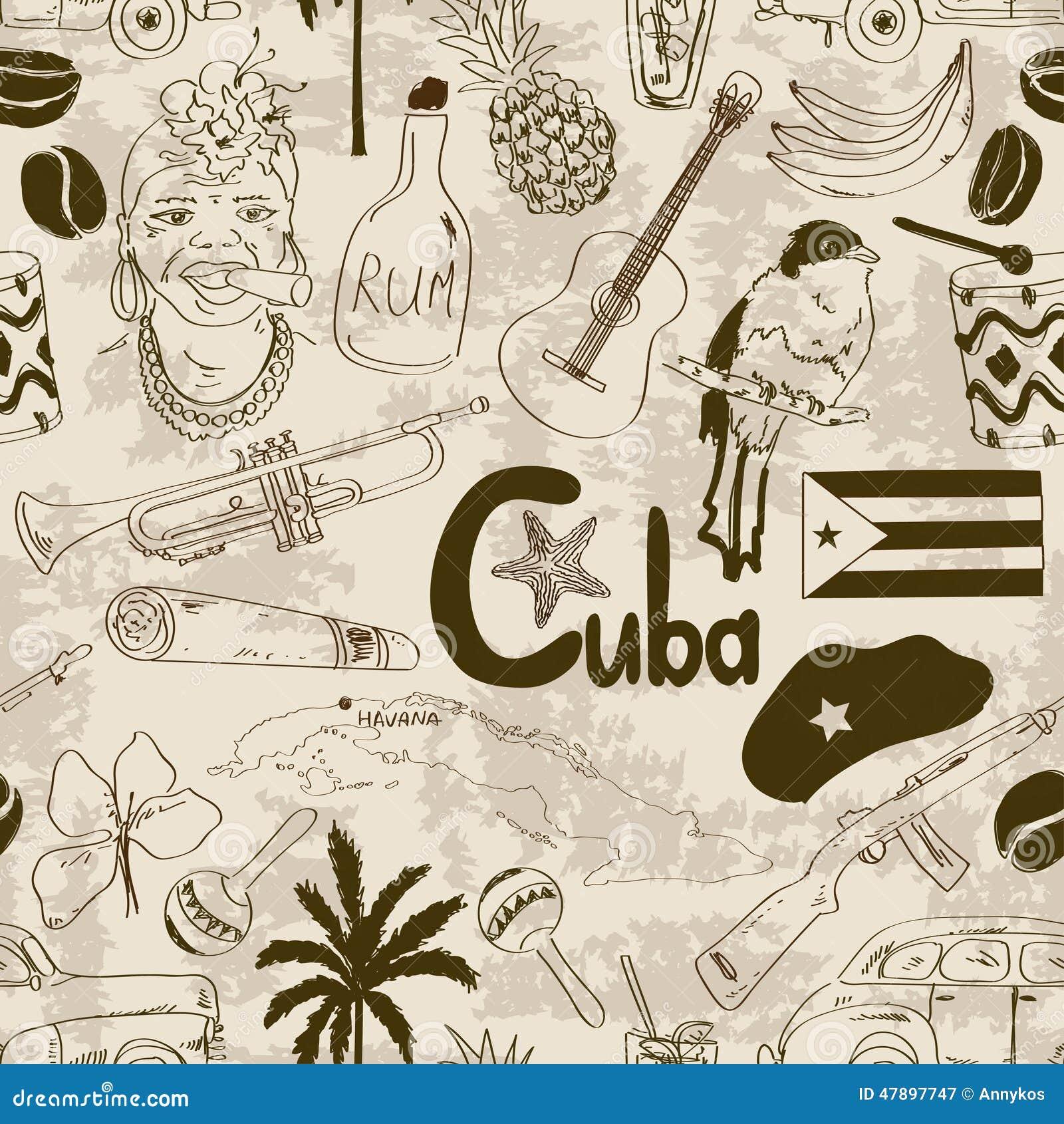 Modèle sans couture cubain de rétro croquis