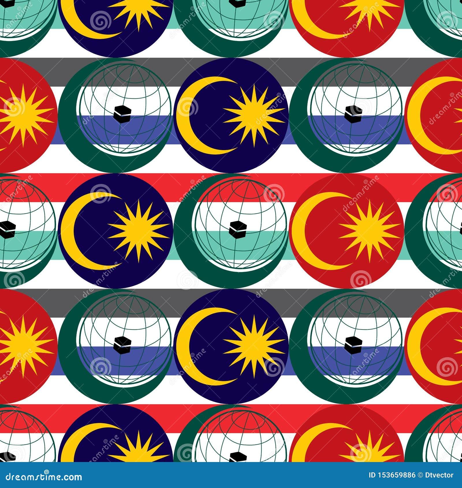 Modèle sans couture d élément de drapeau de la Malaisie de cartel de logo d OIC
