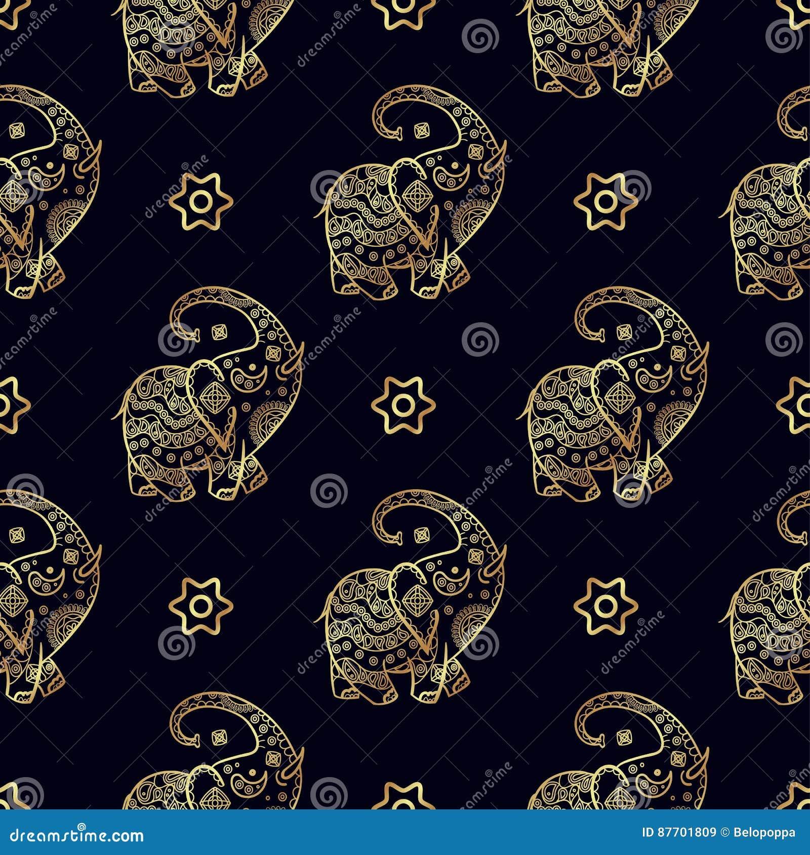 Modèle sans couture d éléphant d or