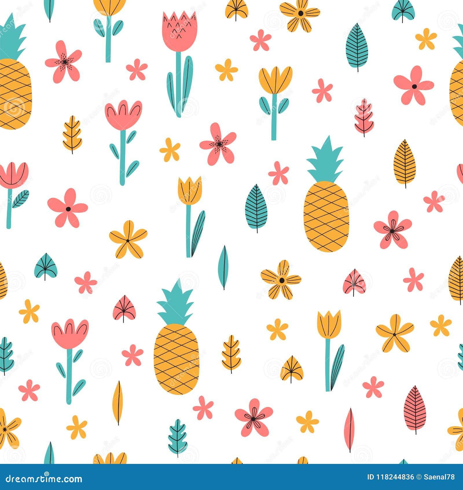 Modèle sans couture d été tiré par la main avec les fleurs et l ananas Fond puéril tropical mignon Éléments décoratifs élégants