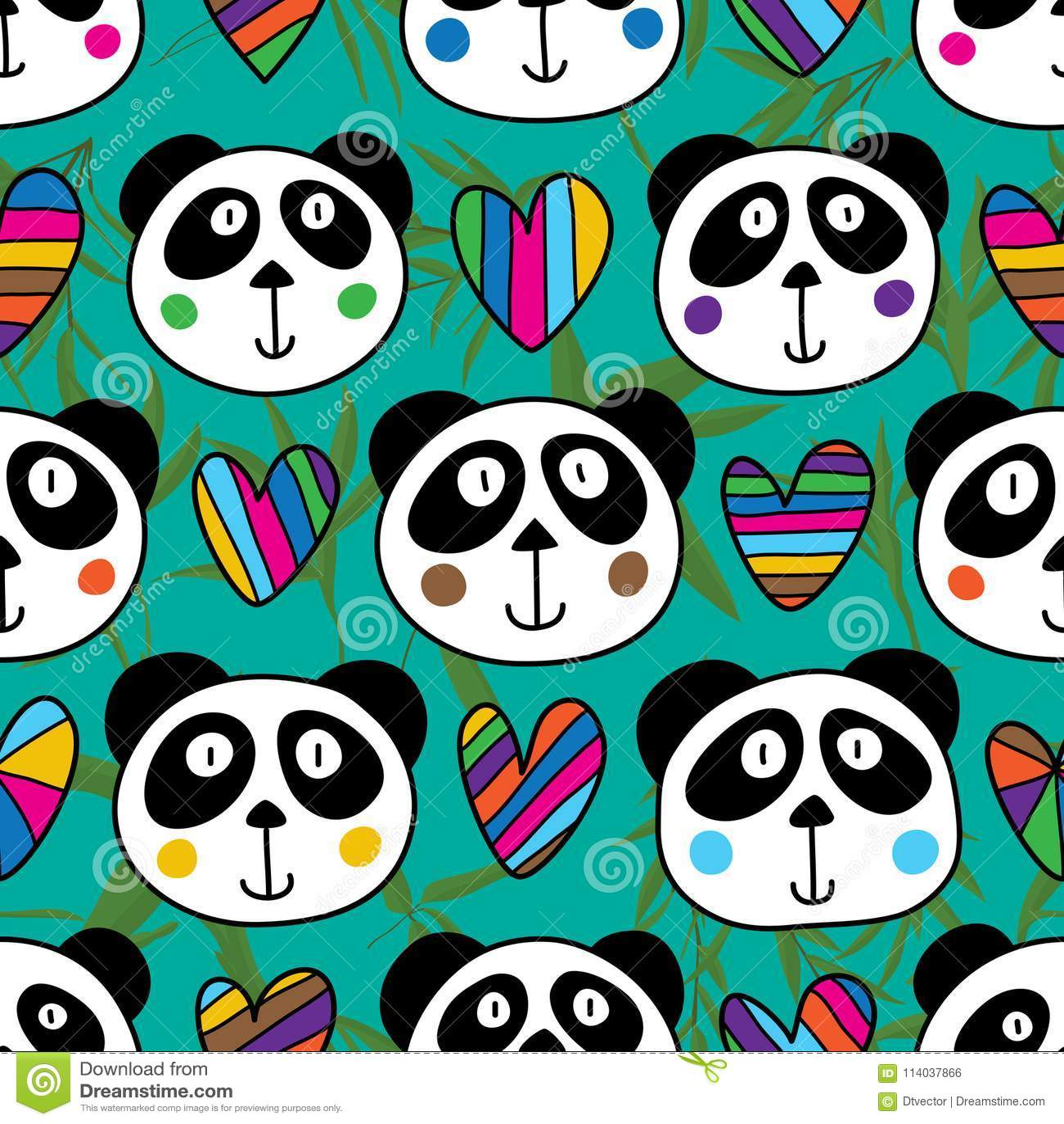 Modèle sans couture d amour principal de panda