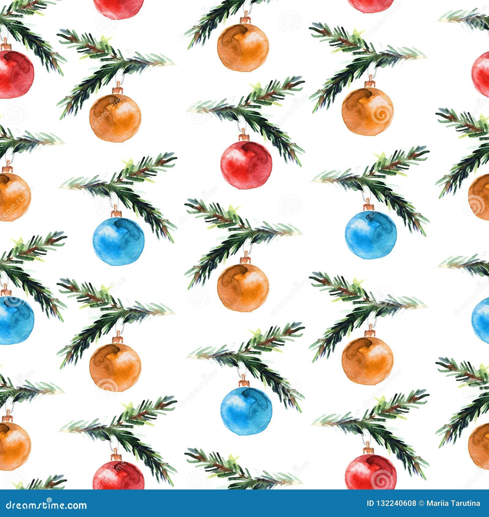 Modèle sans couture d aquarelle avec des boules de Noël