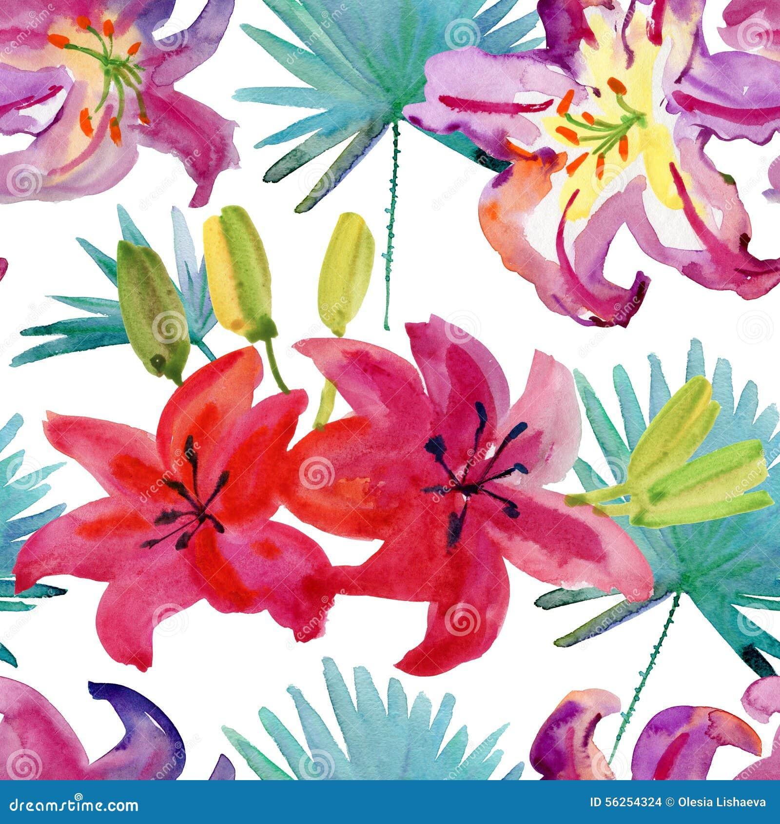 mod le sans couture d 39 aquarelle avec des fleurs de ketmie. Black Bedroom Furniture Sets. Home Design Ideas