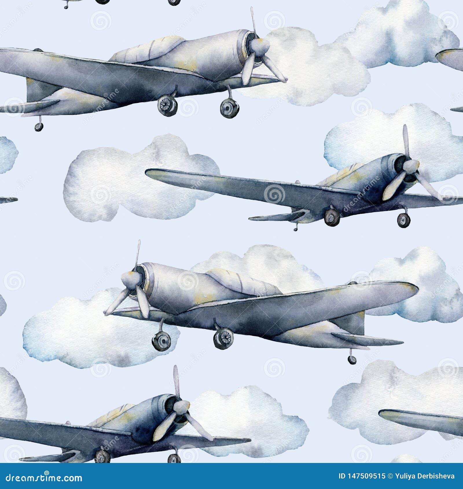Modèle sans couture d aquarelle avec l avion et les nuages Illustration peinte à la main de ciel avec l avion de propulseur d iso