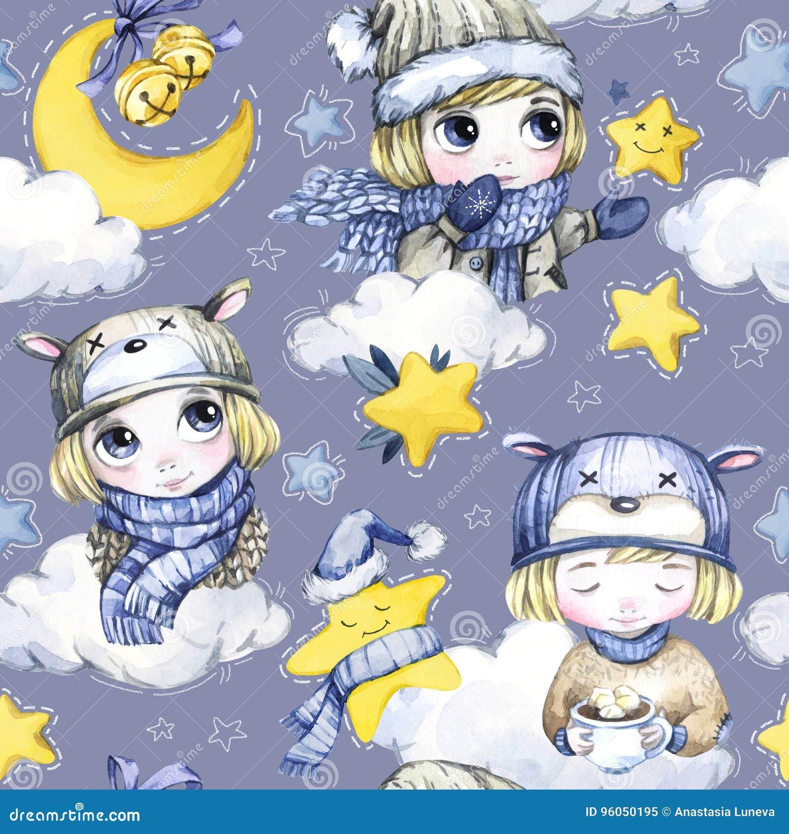 Modèle sans couture d aquarelle avec les enfants de bande dessinée, la lune, les étoiles de magie et les nuages mignons An neuf I