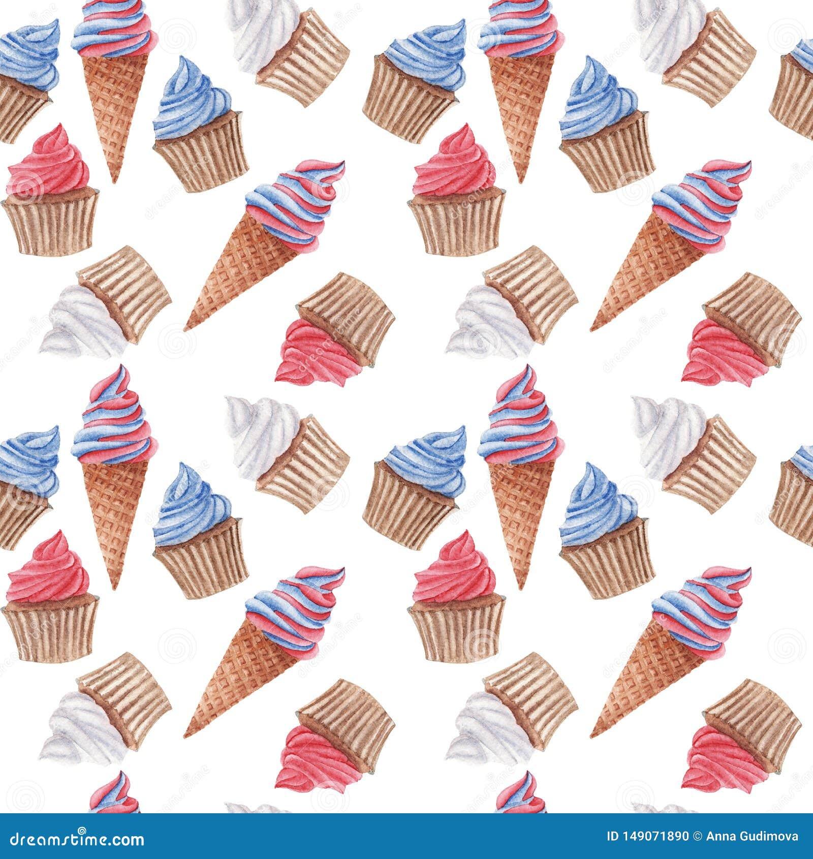 Modèle sans couture d aquarelle avec les petits gâteaux et la crème glacée rouges, bleus et blancs