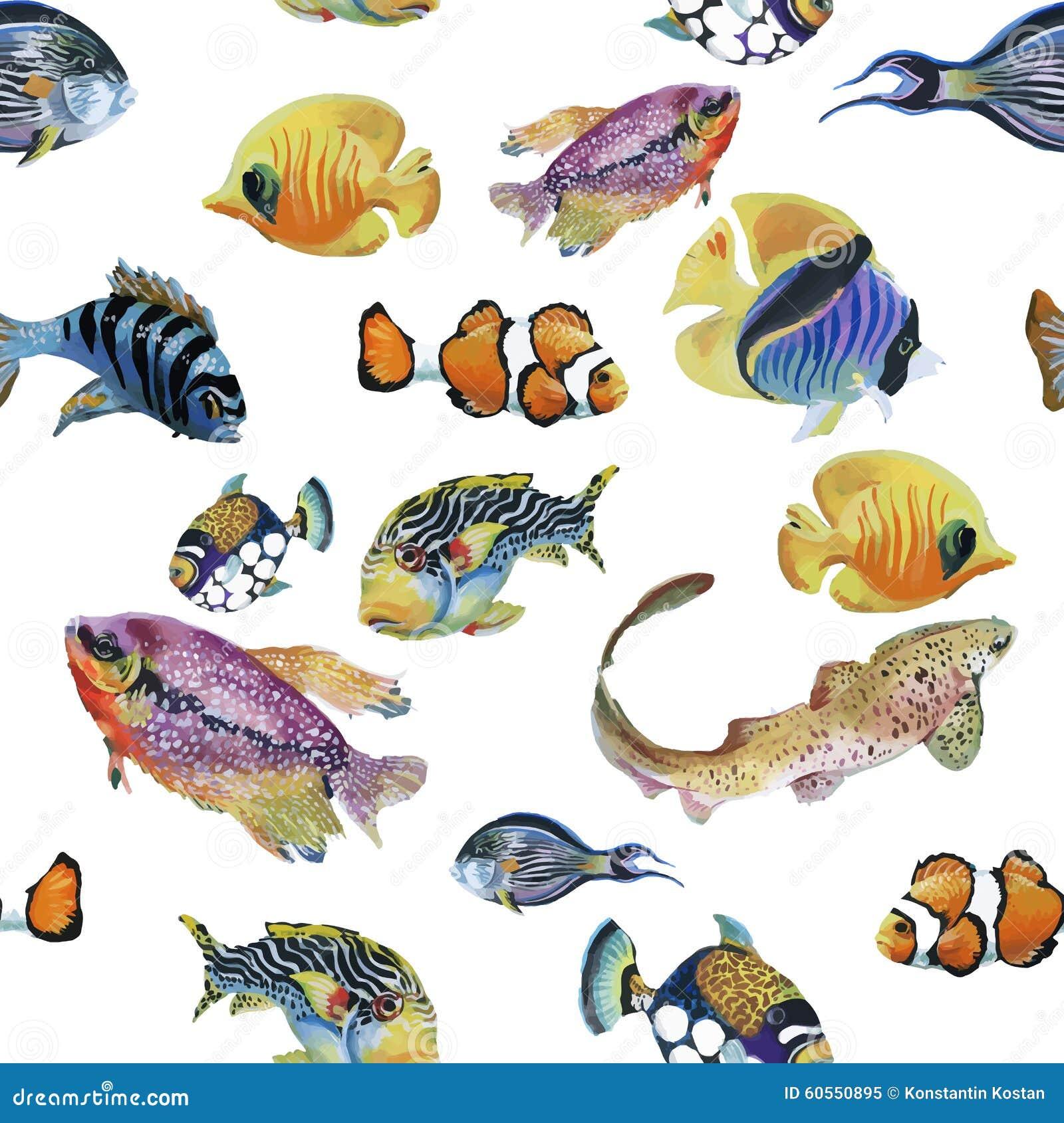 Mod le sans couture d 39 aquarelle d 39 esp ce marine avec les for Dreaming of fish