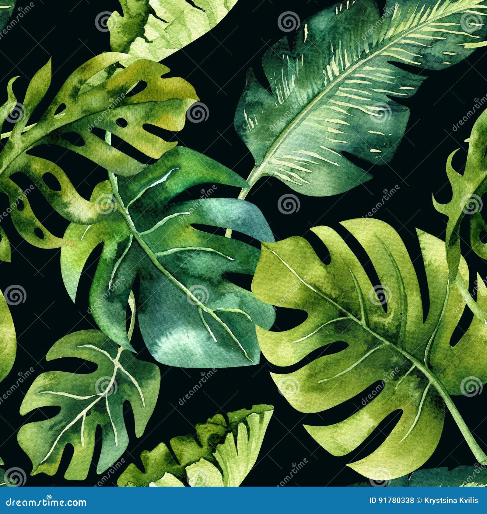 Modèle sans couture d aquarelle des feuilles tropicales, jungle dense Ha