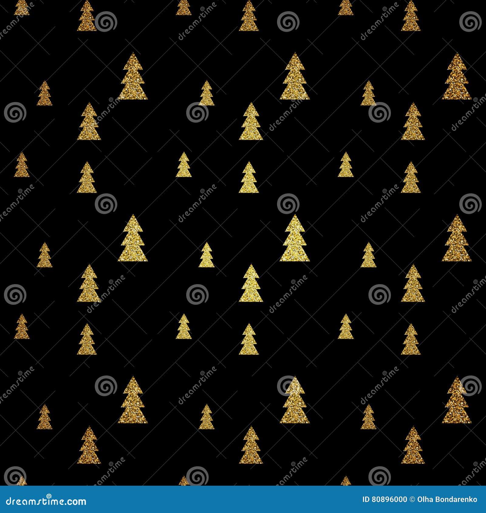 Modèle sans couture d arbre de Noël d or sur le fond noir Vecteur