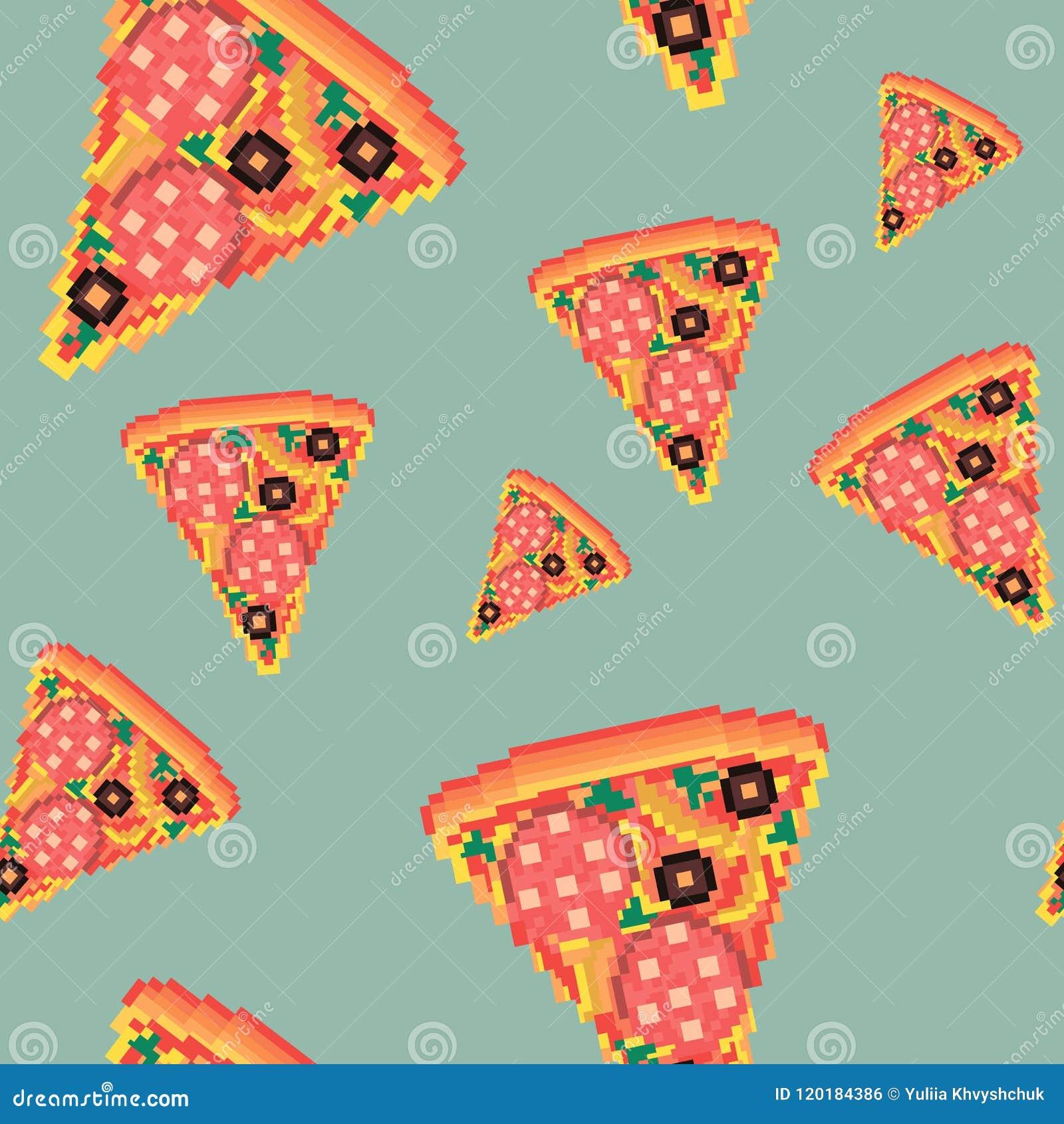 Modèle Sans Couture Dart De Pixel De Pizza Daliments De