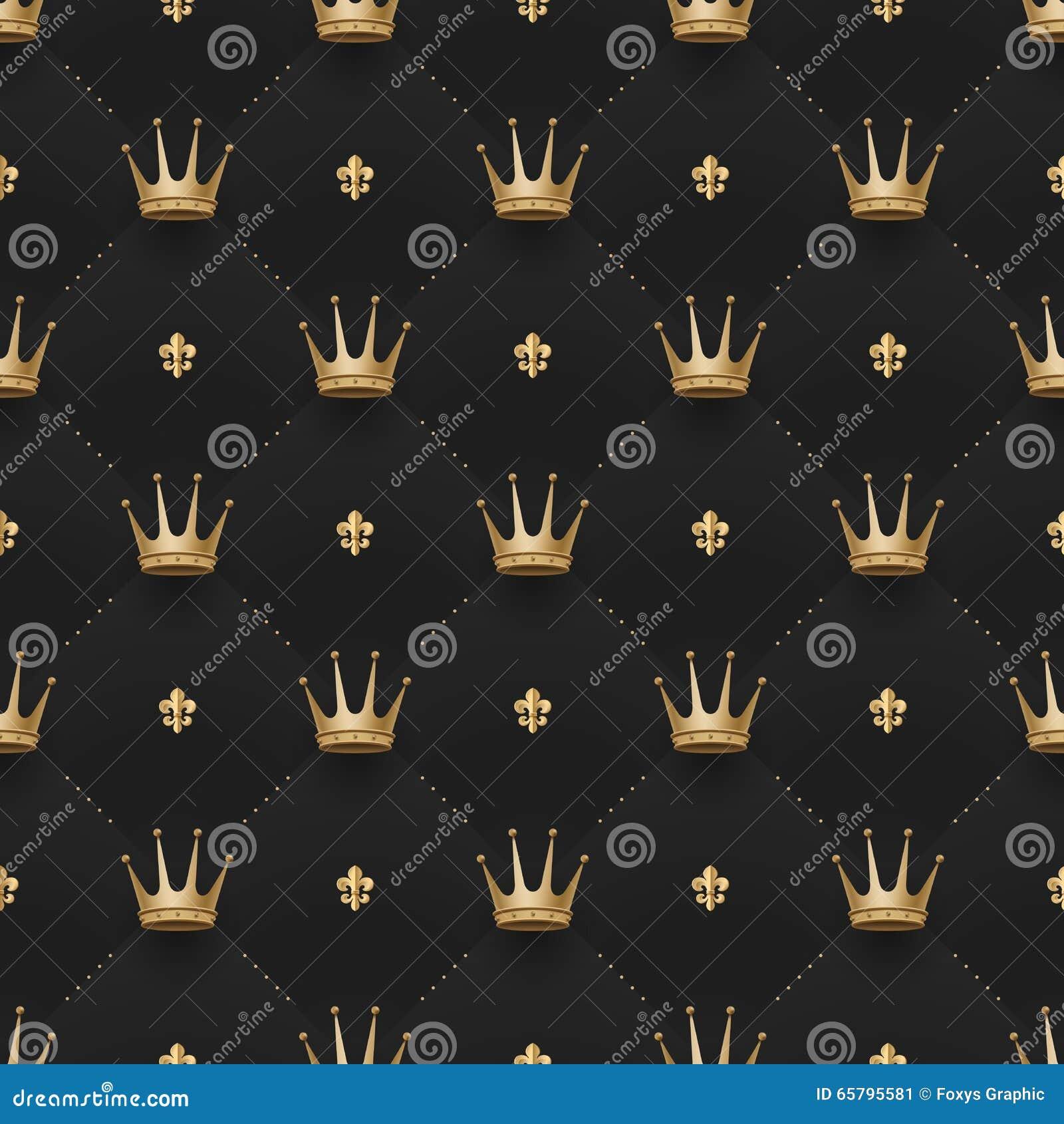 Modèle sans couture d or avec des couronnes de roi et fleur de lis sur un fond de noir foncé Illustration de vecteur