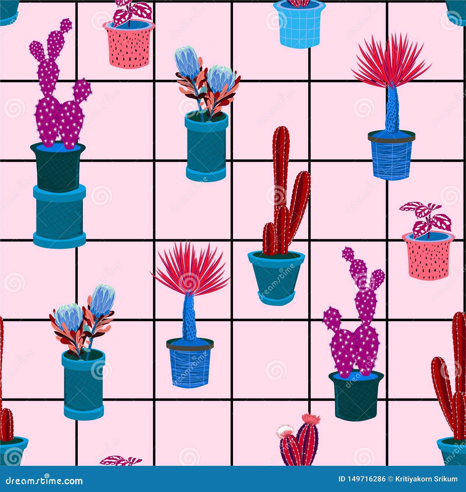 Modèle sans couture d ector coloré avec le cactus différent dans les beaucoup genre de pots sur la ligne de contrôle de fenêtre,