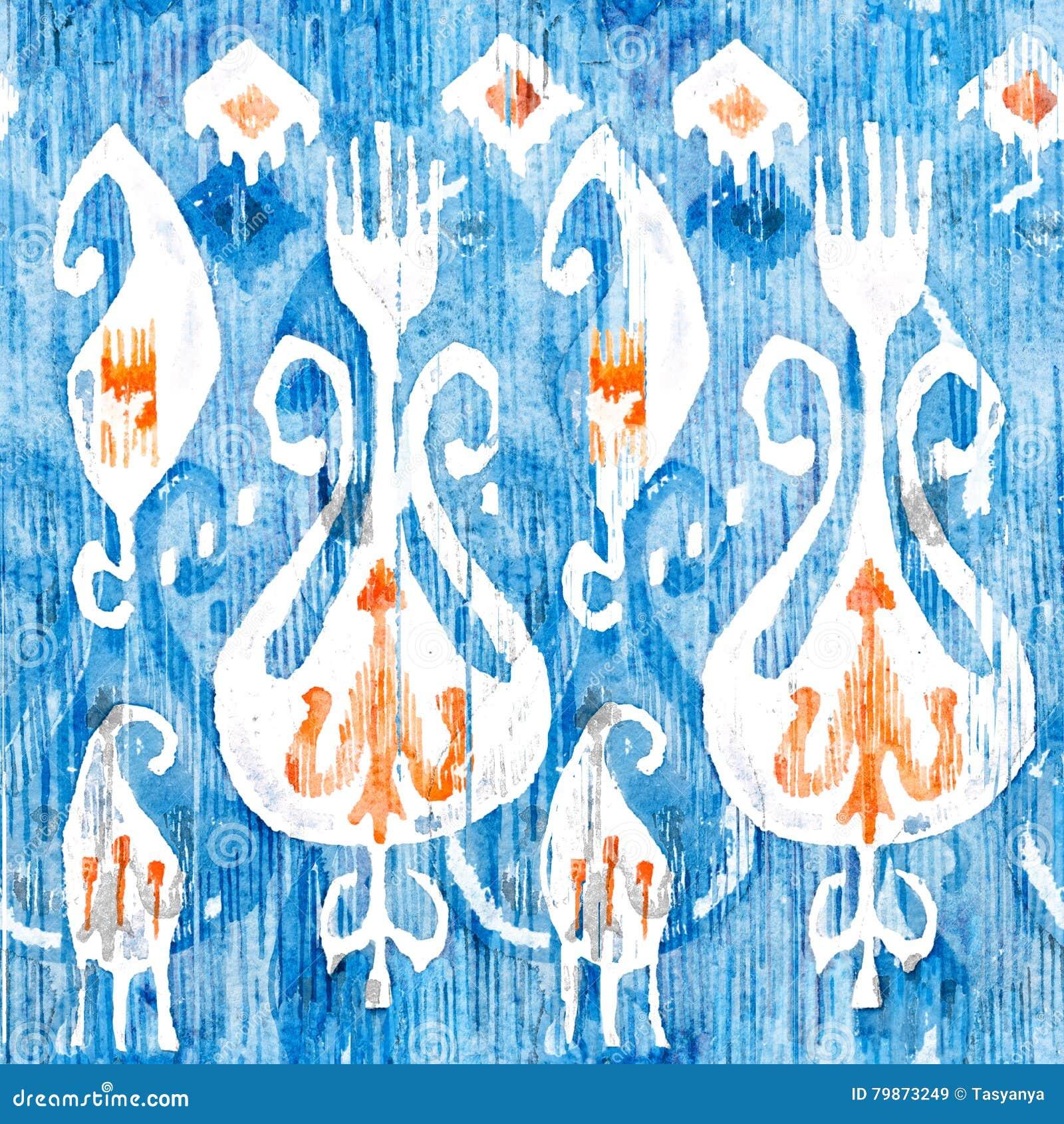 Modèle sans couture d ikat d aquarelle Floral décoratif dans le style pour aquarelle Ethnique de Bohème
