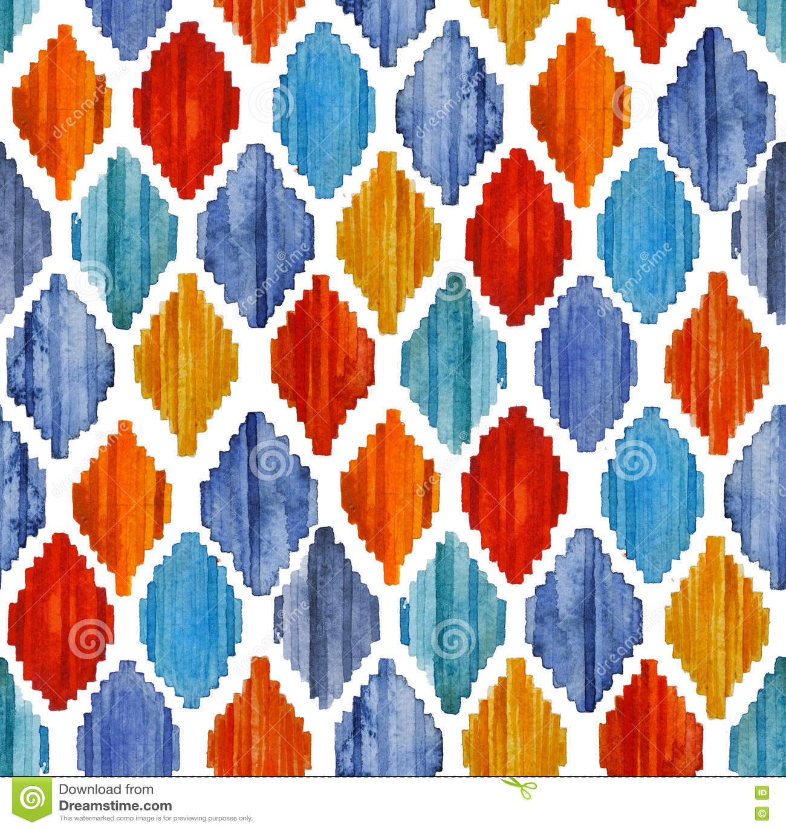 Modèle sans couture d ikat d aquarelle Losange ethnique vibrant