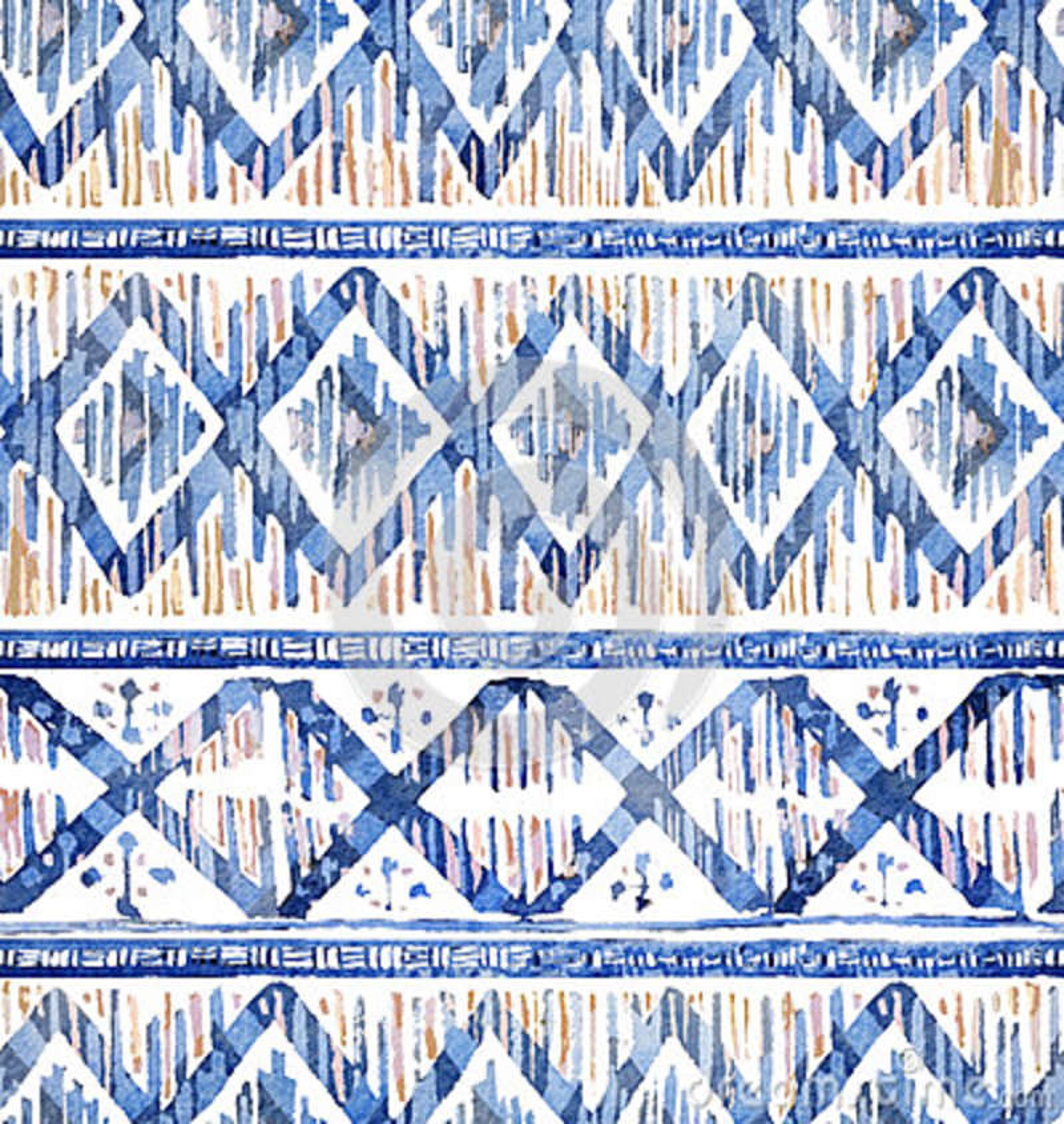 Modèle sans couture d ikat d aquarelle Losange ethnique vibrant dans l aquarelle