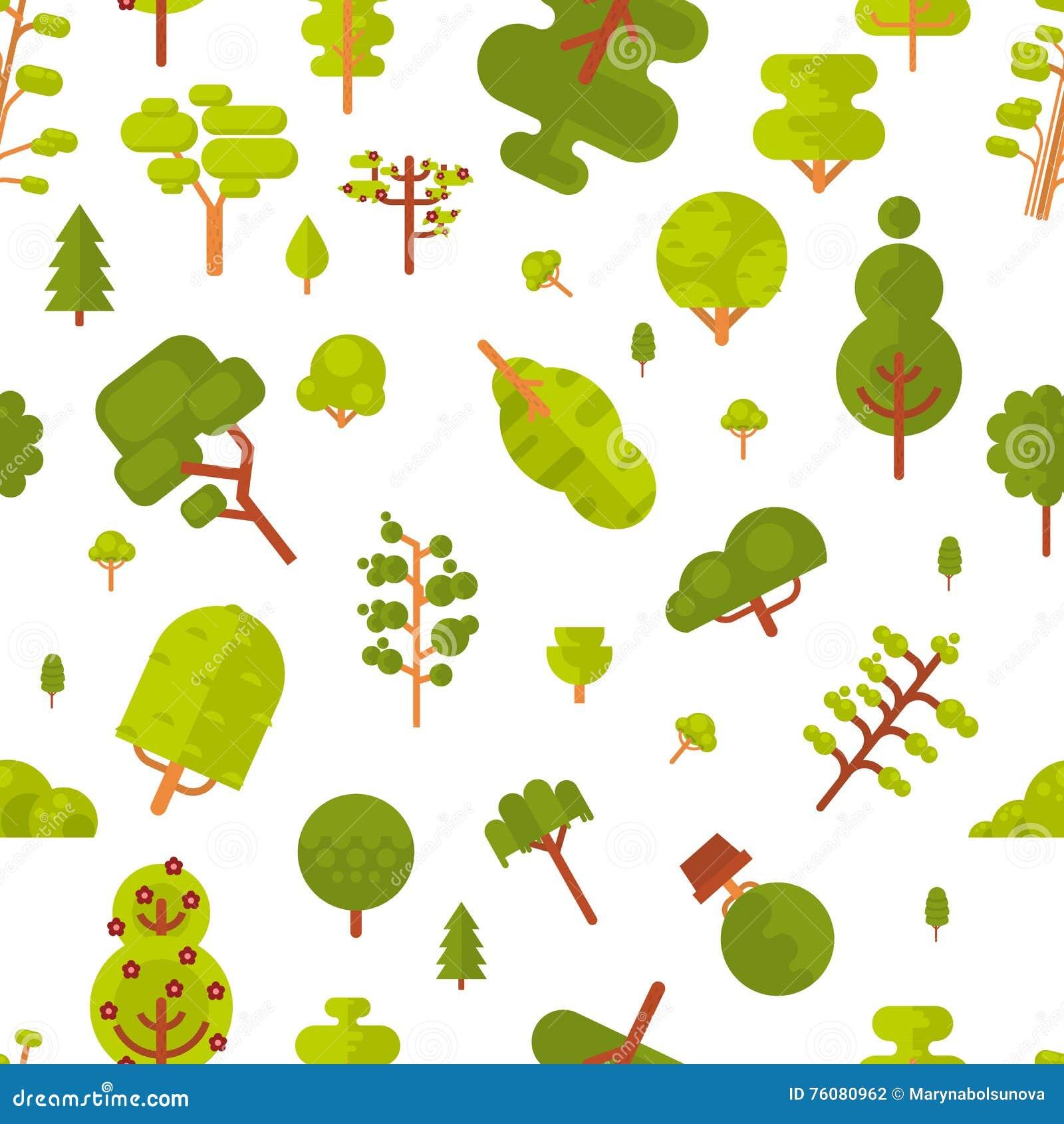 Modèle sans couture d illustration avec les arbres et les buissons verts sur un fond blanc dans le style plat