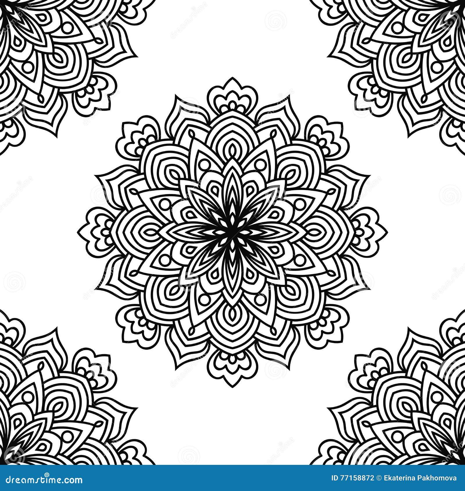 Modèle sans couture d imagination noire et blanche avec la fleur ronde ornementale de griffonnage sur le fond blanc Mandala noir