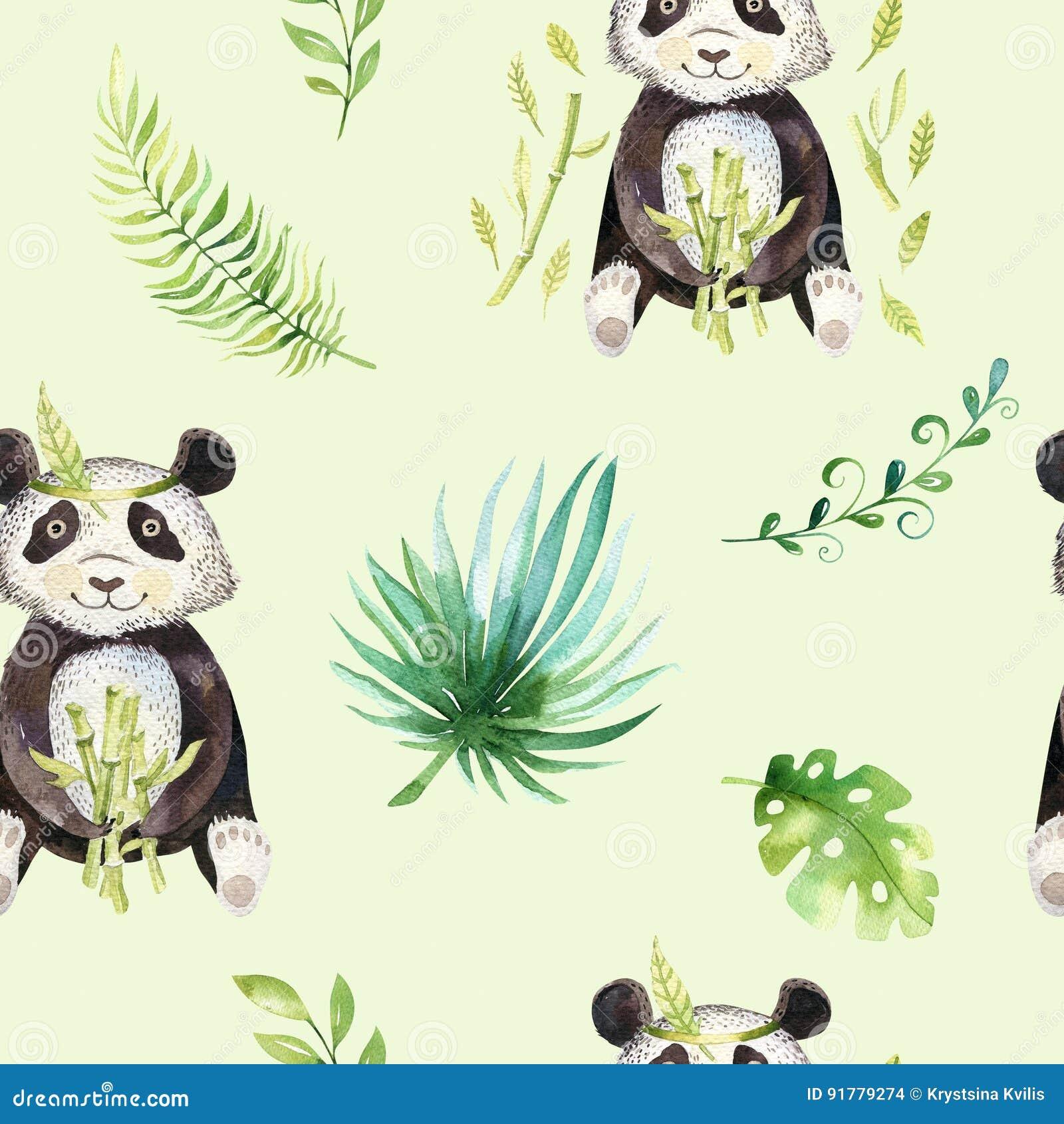 Modèle sans couture d isolement par crèche d animaux de bébé Dessin tropical de boho d aquarelle, panda mignon de dessin tropical